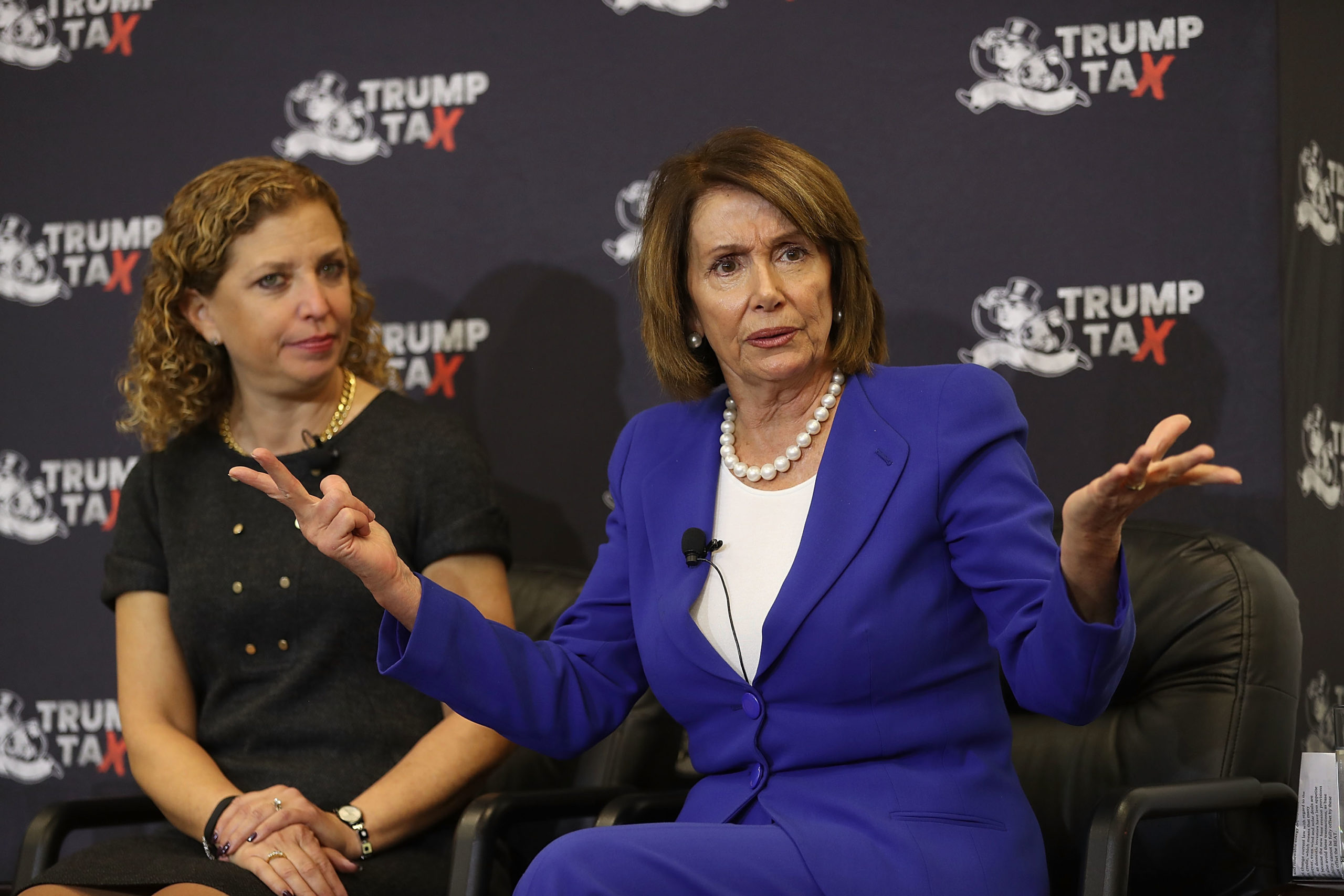 BOCA RATON, FL - JANUARY 25: Rep. Debbie Wasserman Schultz (D-FL) and House Minority Leader Nancy Pelosi (D-CA) (L-R) participate in a tax town hall discussion at Florida Atlantic University on January 25, 2018 in Boca Raton, Florida. (Photo by Joe Raedle/Getty Images)