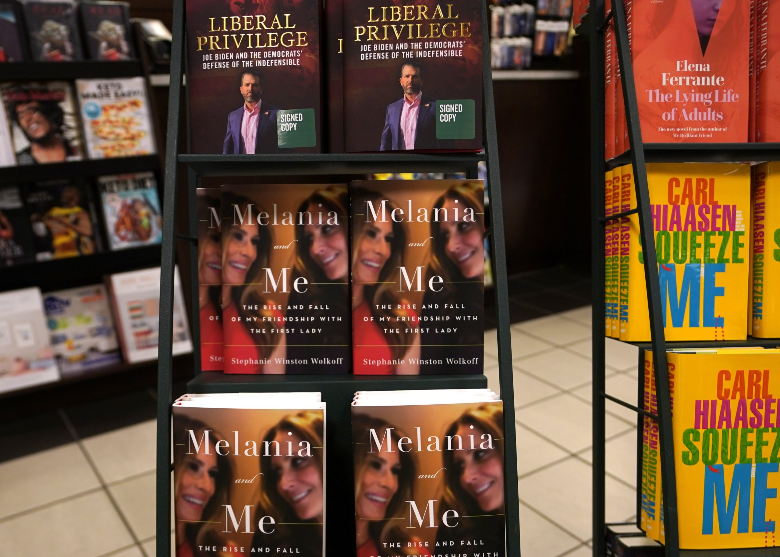 """The book """"Melania and Me: The Rise and Fall of My Friendship with the First Lady"""" by Stephanie Winston Wolkoff is viewed on display at Barnes & Noble bookstore on 5th Avenue in New York on September 1, 2020 (Photo by TIMOTHY A. CLARY / AFP) (Photo by TIMOTHY A. CLARY/AFP via Getty Images)"""