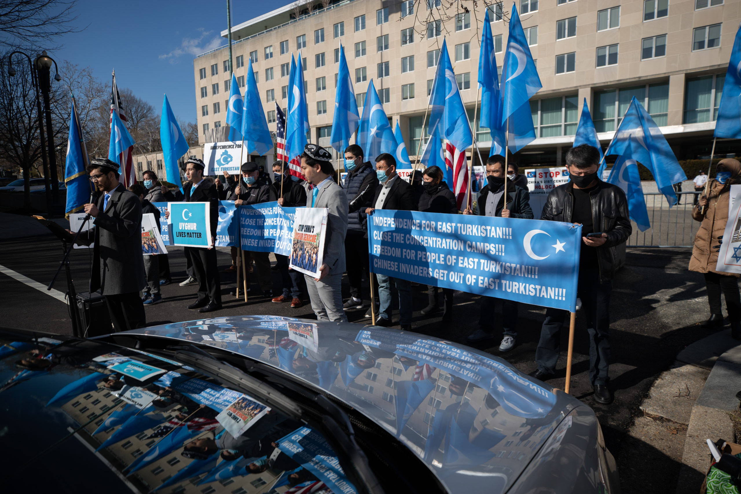 Uighurs protested against the upcoming Beijing Olympics and asked the U.S. government to continue helping the Uighur people in Xinjiang, Chia, outside the State Department in Washington, D.C. on Feb. 5, 2020.