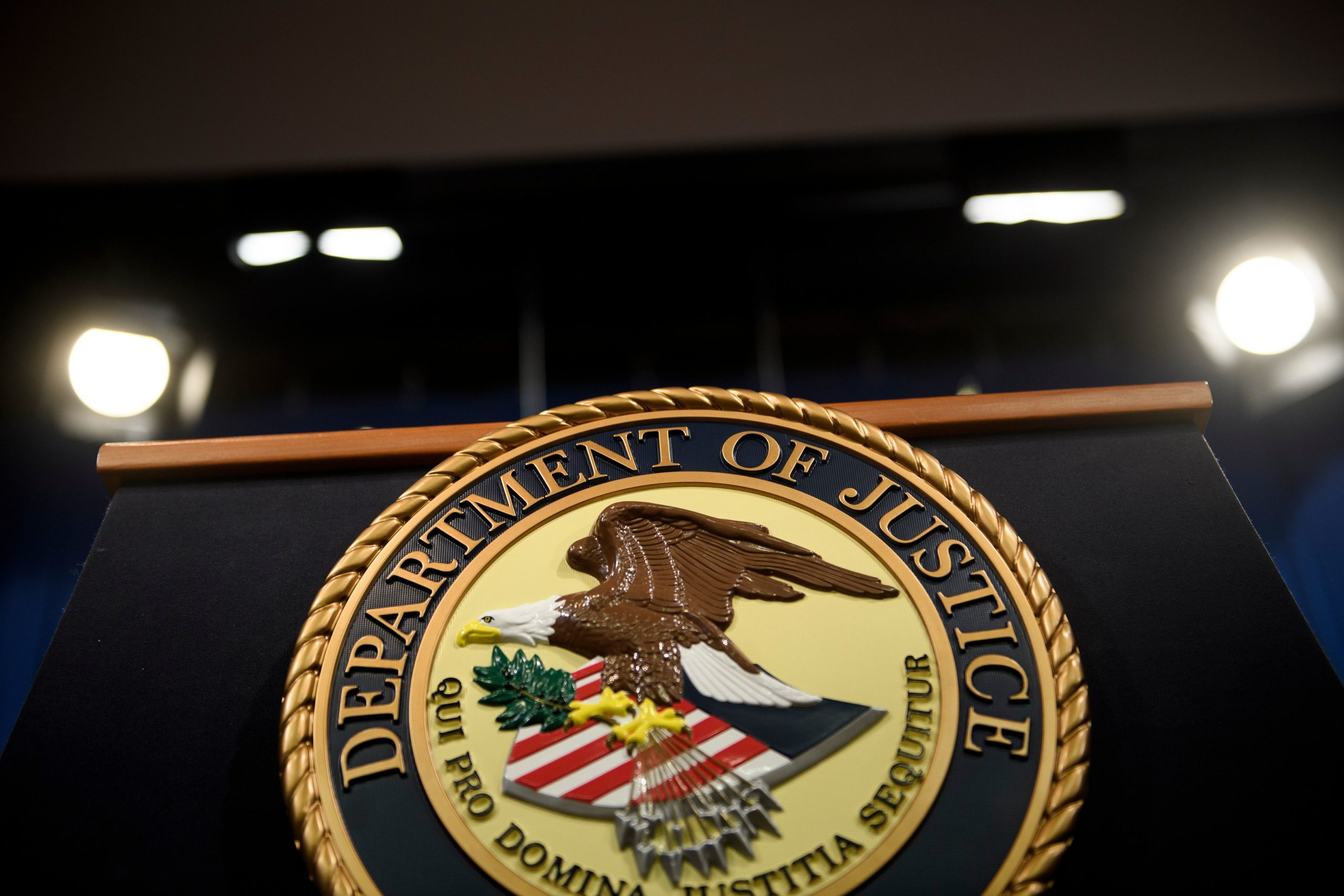 A view of the lecture before US Attorney General William Barr holds a press conference about the release of the Mueller Report at the Department of Justice April 18, 2019, in Washington, DC.(Photo by BRENDAN SMIALOWSKI/AFP via Getty Images)