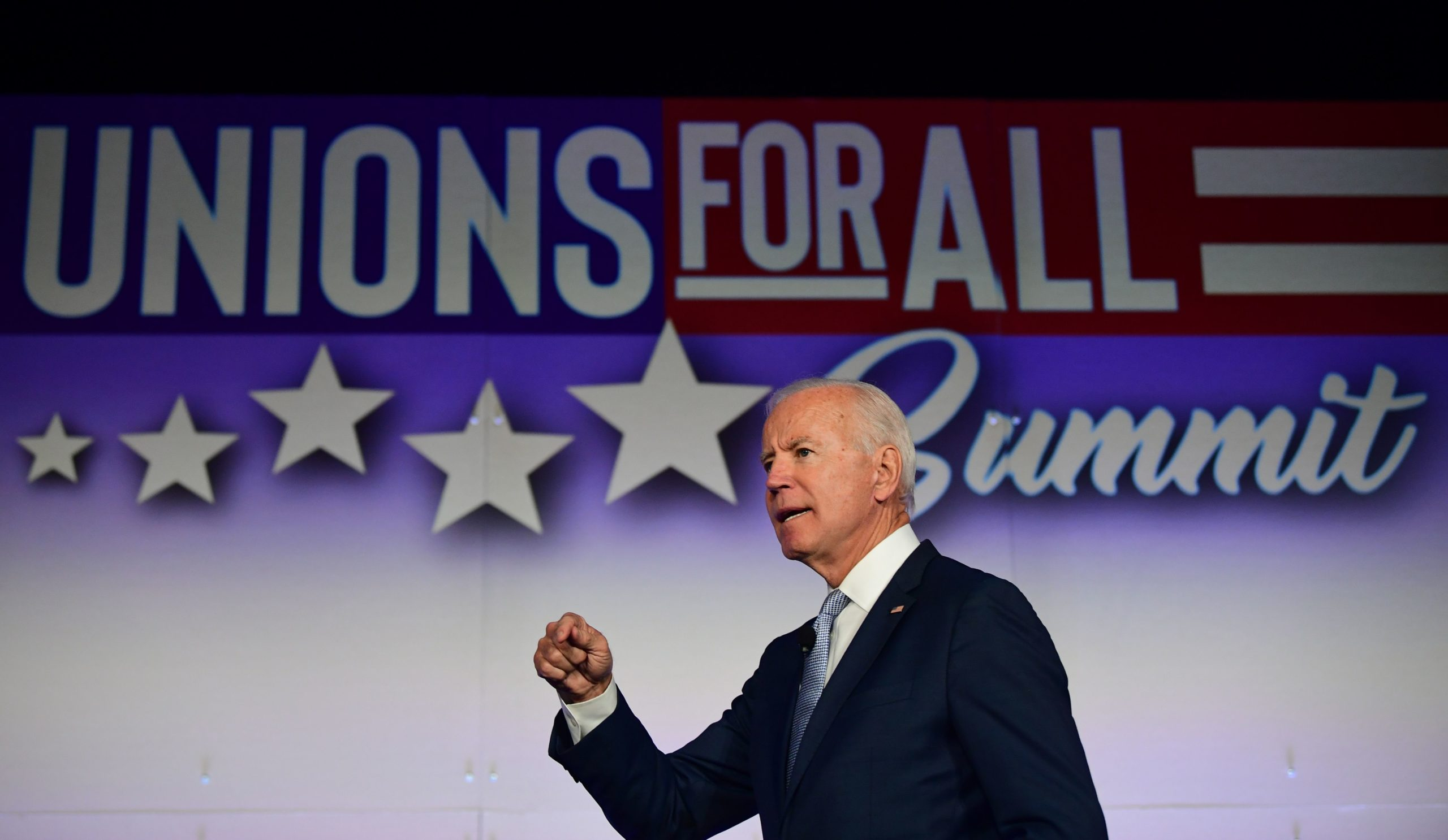 President Joe Biden speaks at the SEIU Unions for All Summit in Los Angeles, California on Oct. 4, 2019. (Frederic J. Brown/AFP via Getty Images)