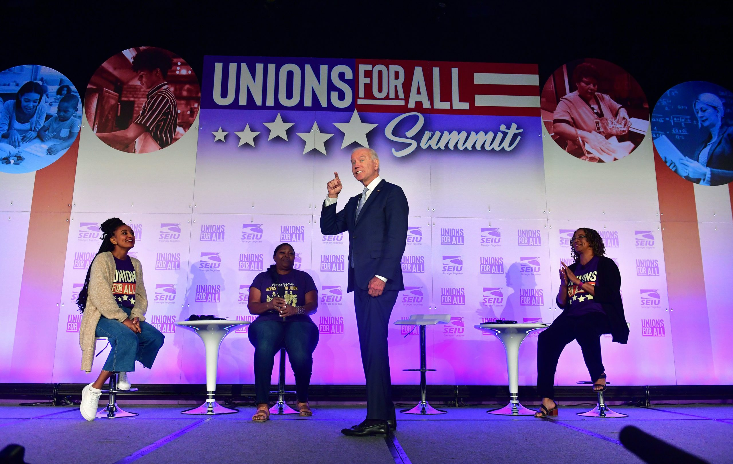 President Joe Biden speaks during the SEIU Unions for All Summit in Los Angeles, California on Oct 4, 2019. (Frederic J. Brown/AFP via Getty Images)