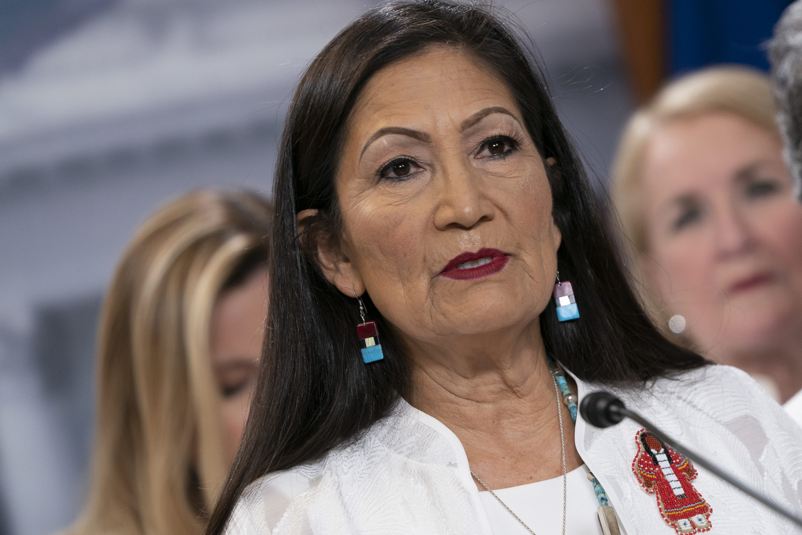 WASHINGTON, DC - FEBRUARY 04: U.S. Rep. Deb Haaland (D-NM) speaks during a news conference with members of the Democratic Women's Caucus prior to State of the Union at the U.S. Capitol on February 4, 2020 in Washington, DC. The group of women is wearing white to commemorate the anniversary of the passage of the 19th Amendment to the U.S. Constitution. (Photo by Alex Edelman/Getty Images)