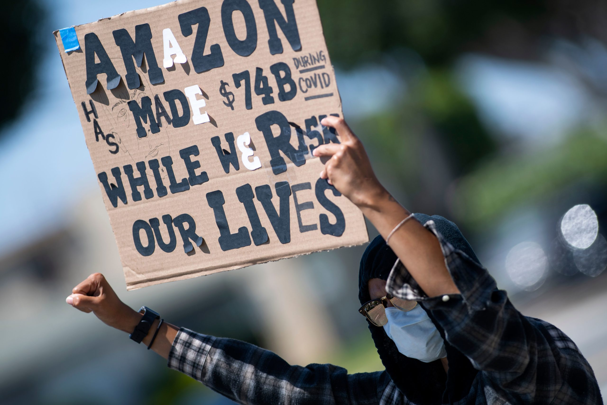 Workers protest in favor of adequate protections in an Amazon workplace on May 1, 2020 in Hawthorne, California. (Valerie Macon/AFP via Getty Images)