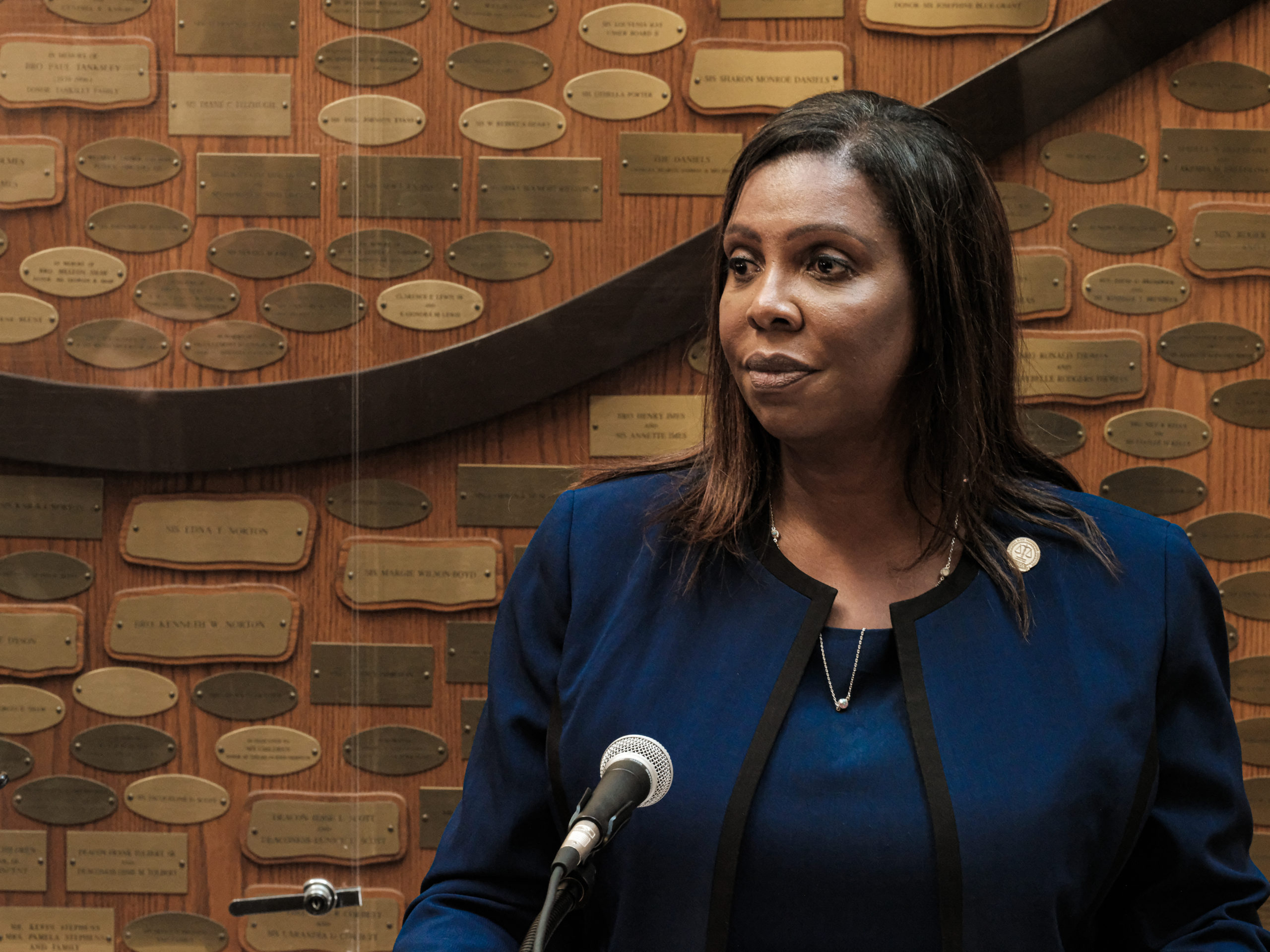 ROCHESTER, NY - SEPTEMBER 20: New York State Attorney General Letitia James speaks at a news conference about the ongoing investigation into the death of Daniel Prude on September 20, 2020 in Rochester, New York. Prude, who is Black, died March 30 after being taken off life support following his arrest by Rochester police. (Photo by Joshua Rashaad McFadden/Getty Images)