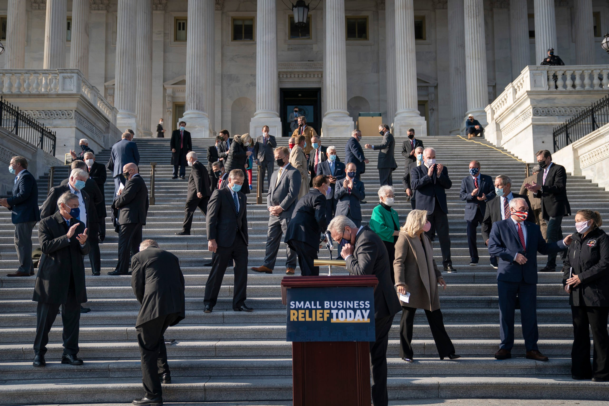 House Minority Leader Kevin McCarthy and fellow Republicans host a news conference outside the Capitol on Dec. 10. (Drew Angerer/Getty Images)
