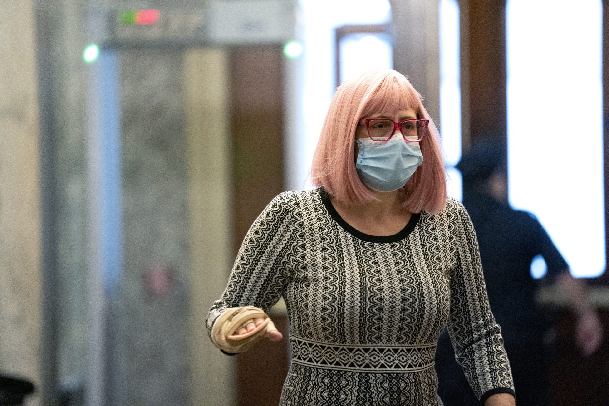 Sen. Kyrsten Sinema wears a protective mask while arriving to the U.S. Capitol on December 11, 2020 in Washington, DC. (Stefani Reynolds/Getty Images)