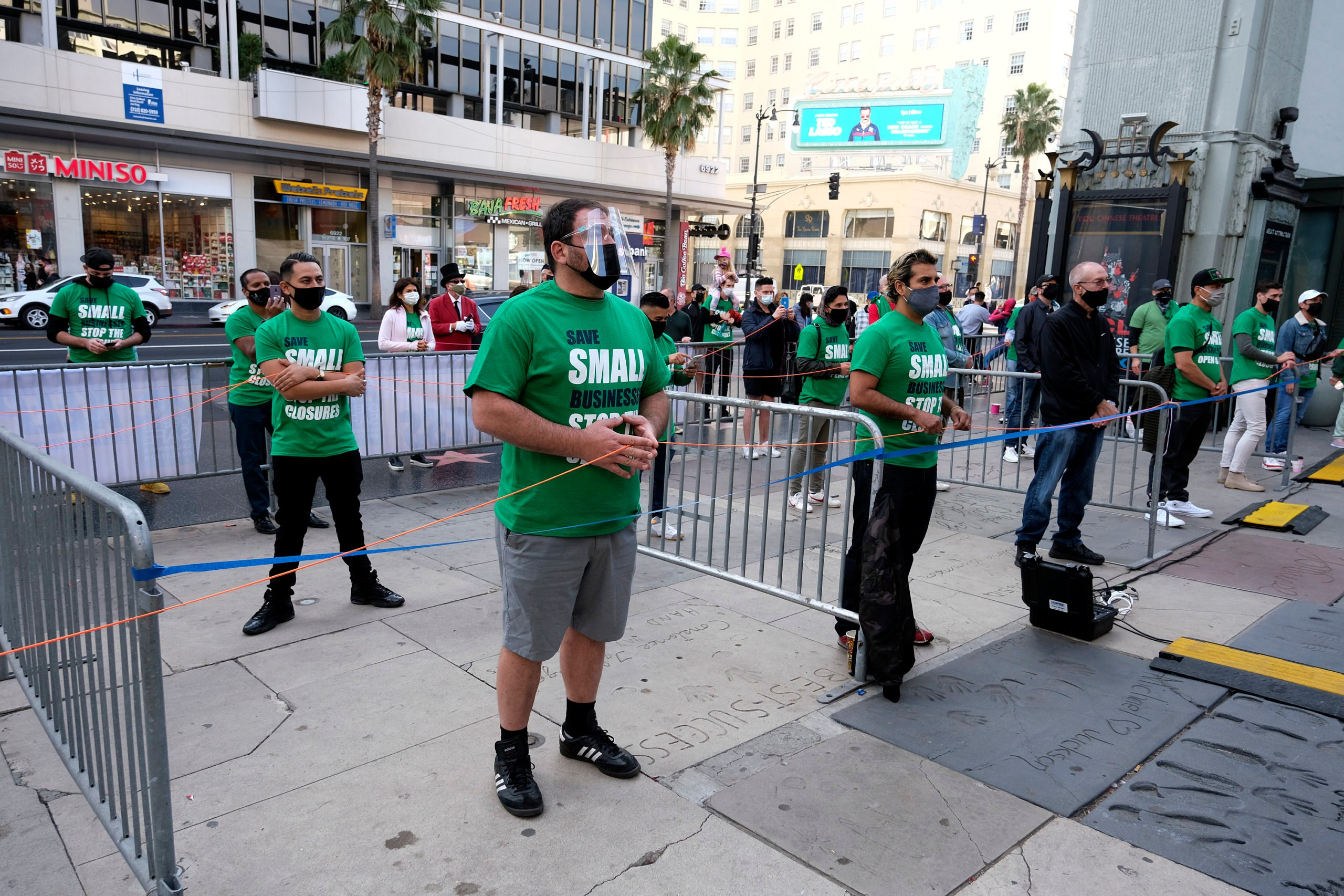 Small business owners protest in Los Angeles, California on Dec. 12. (Ringo Chiu/AFP via Getty Images)