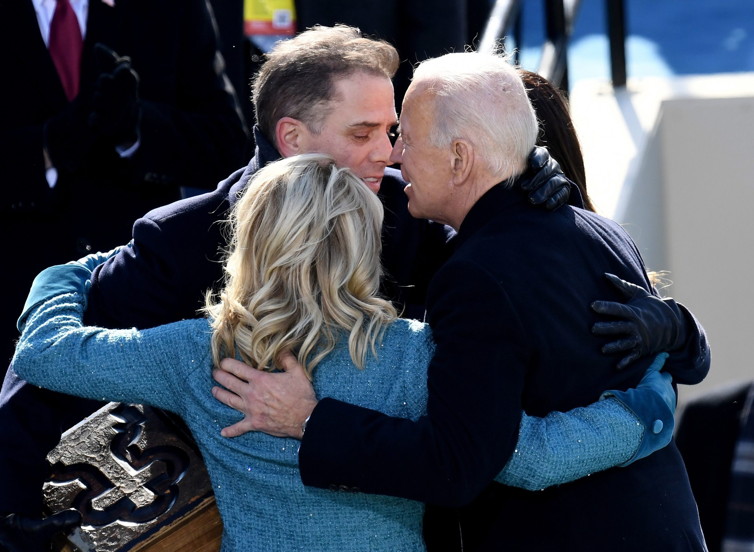 President Joe Biden hugs his son Hunter Biden and First Lady Jill Biden after being sworn in as the 46th president, on Jan. 20 at the Capitol. (Olivier Douliery/AFP via Getty Images)