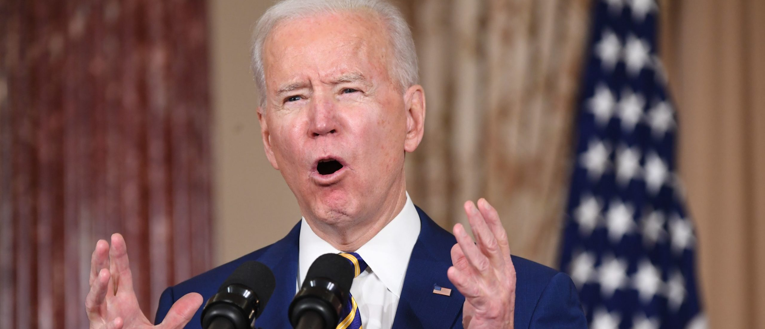 President Joe Biden speaks about foreign policy at the State Department in Washington, D.C. on Thursday. (Saul Loeb/AFP via Getty Images)