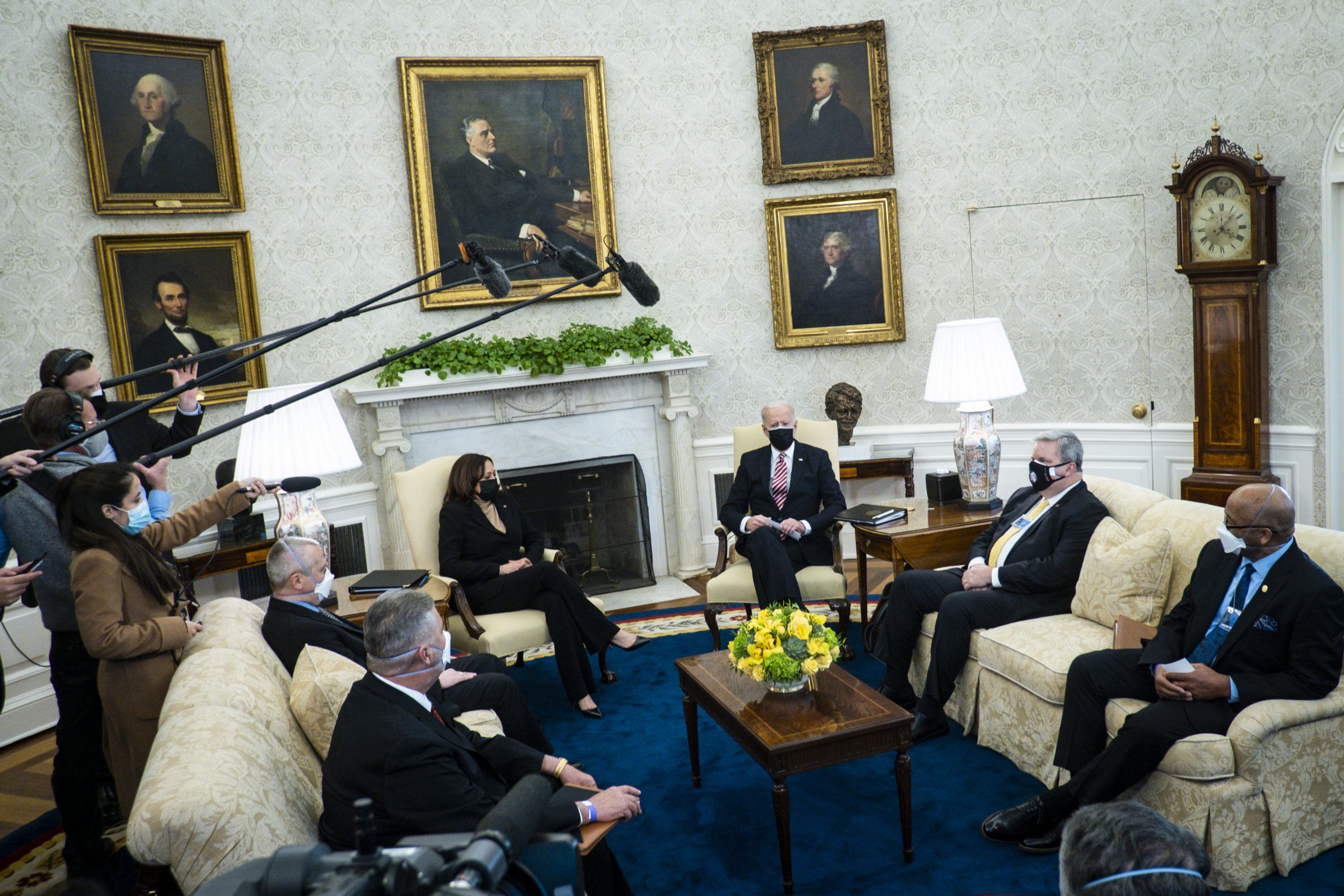 President Joe Biden meets with labor union leaders in the Oval Office on Feb. 17. (Pete Marovich/Pool/Getty Images)