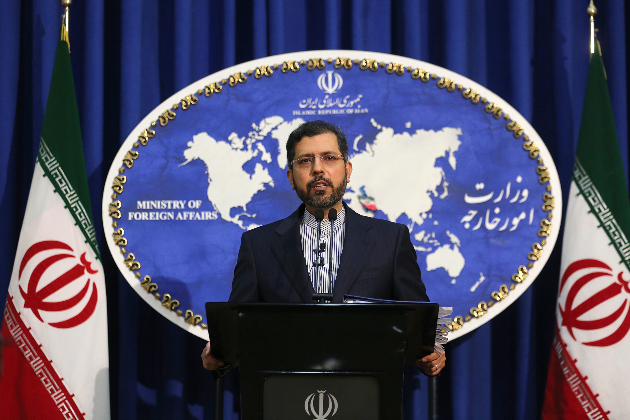 Iranian foreign ministry spokesperson Saied Khatibzadeh addresses the nuclear deal during a press conference in Tehran, Iran on Feb. 22. (Atta Kenare/AFP via Getty Images)