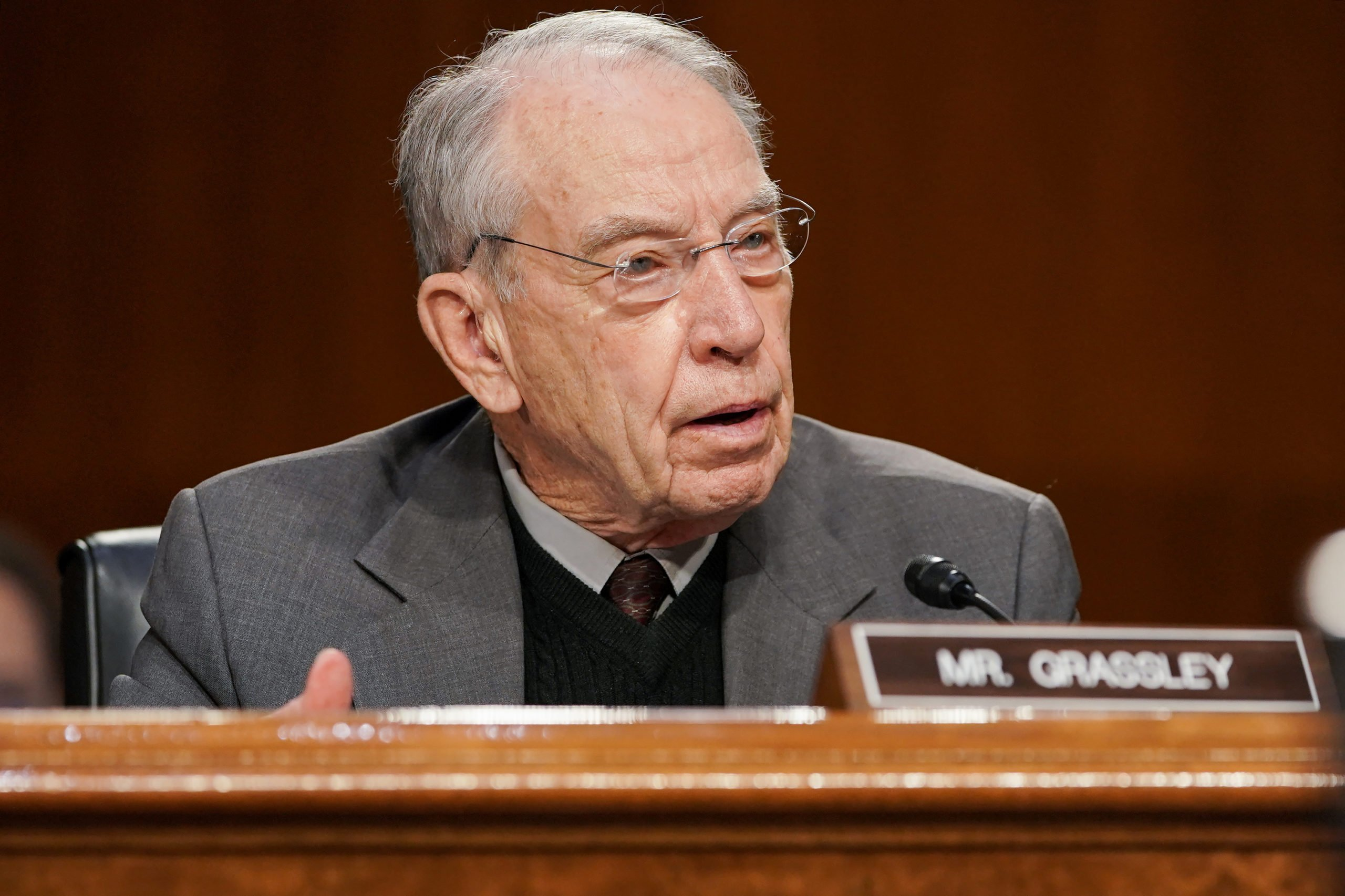 Sen. Chuck Grassley questions Xavier Becerra, President Joe Biden's nominee for Secretary of Health and Human Services, during his confirmation hearing before the Senate Finance Committee on Capitol Hill on February 24, 2021. (Greg Nash-Pool/Getty Images)