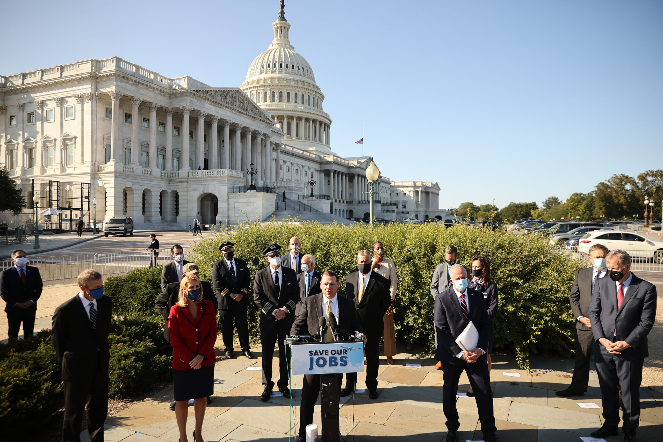 House Committee on Transportation and Infrastructure ranking member Rep. Sam Graves joins airline executives, union heads and fellow political leaders to call on Congress to pass coronavirus relief for the industry in September. (Chip Somodevilla/Getty Images)