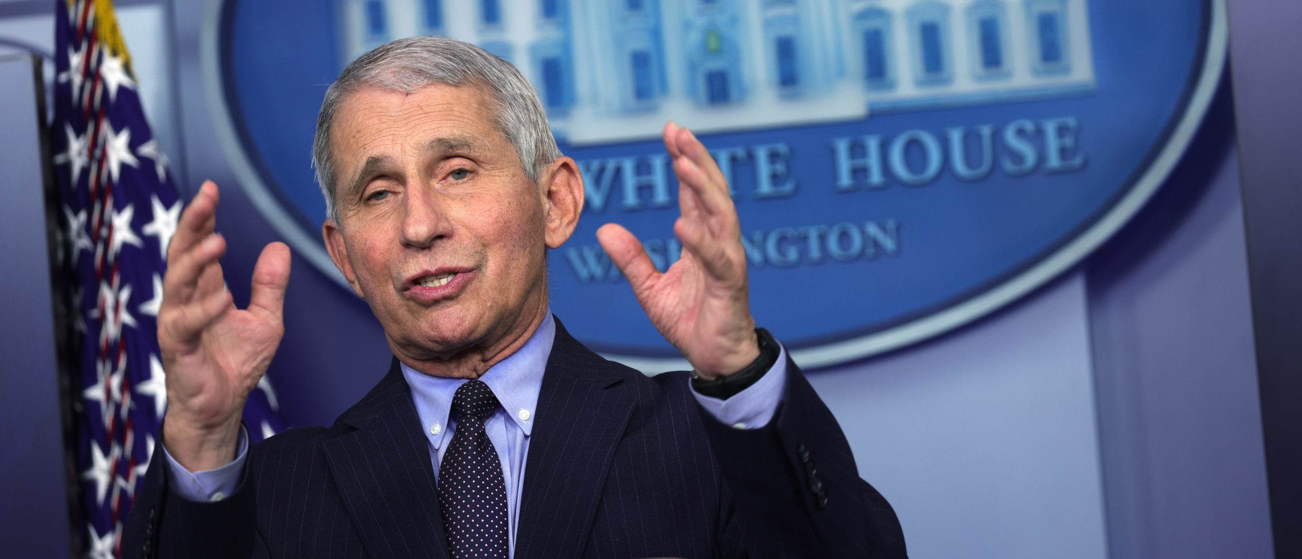 Dr. Anthony Fauci, Director of the National Institute of Allergy and Infectious Diseases, speaks during a White House press briefing, conducted by White House Press Secretary Jen Psaki, at the James Brady Press Briefing Room of the White House January 21, 2021. (Photo by Alex Wong/Getty Images)