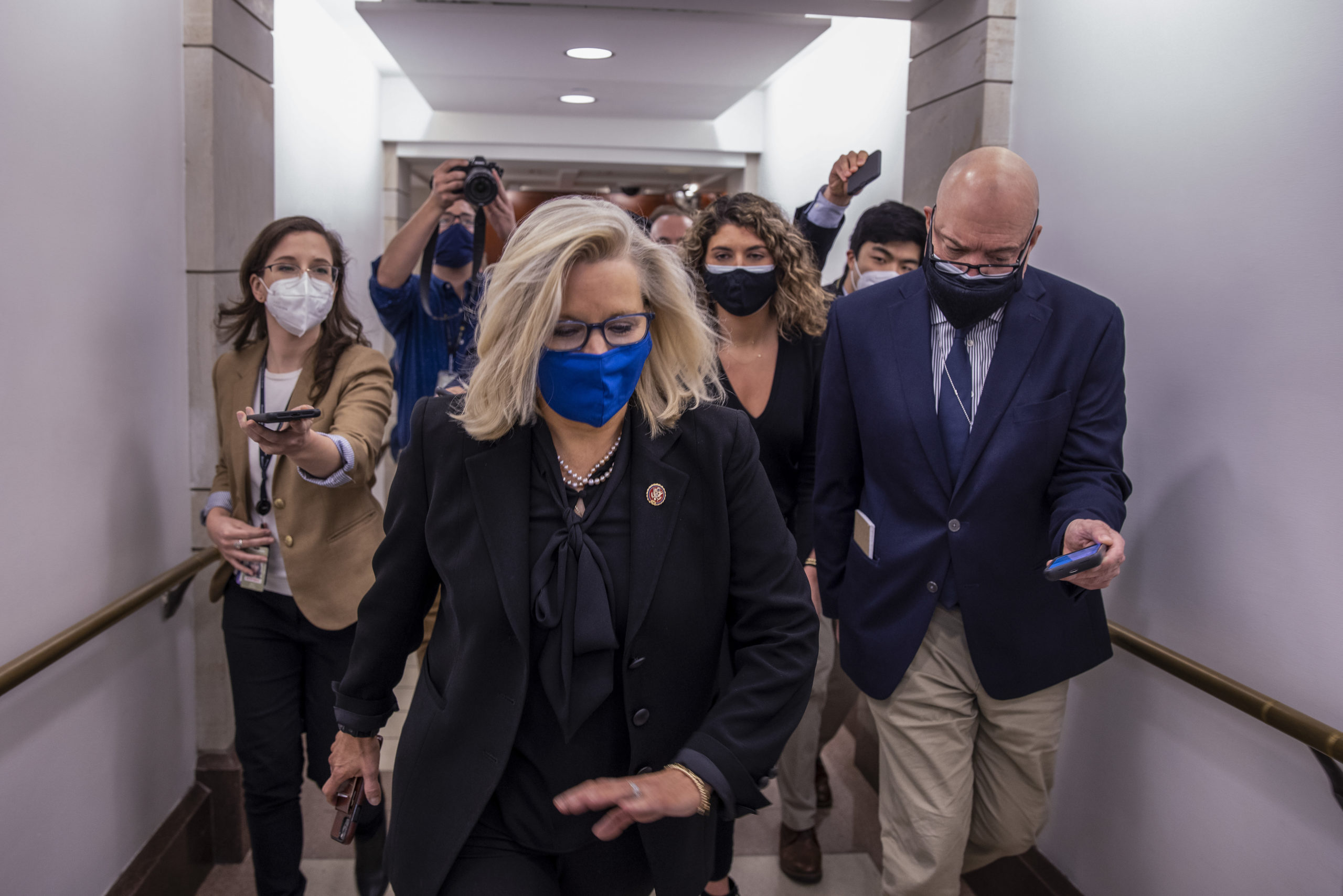 Rep. Liz Cheney heads to the House floor to vote at the U.S. Capitol on February 03, 2021 in Washington, DC. (Tasos Katopodis/Getty Images)
