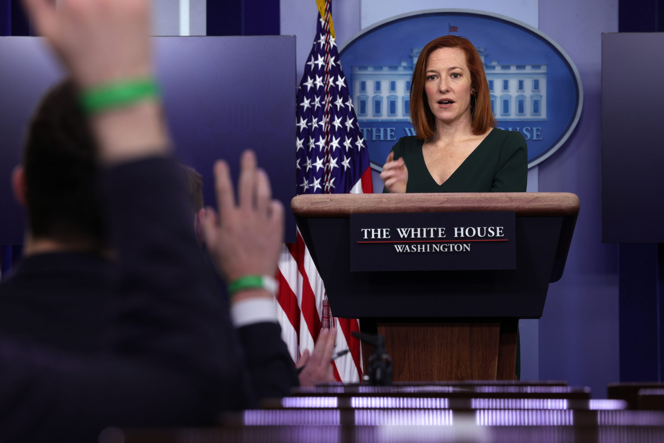 WASHINGTON, DC - FEBRUARY 25: White House Press Secretary Jen Psaki speaks during a news briefing at the James Brady Press Briefing Room of the White House February 25, 2021 in Washington, DC. Psaki held a news briefing to answer questions from the members of the press. (Photo by Alex Wong/Getty Images)