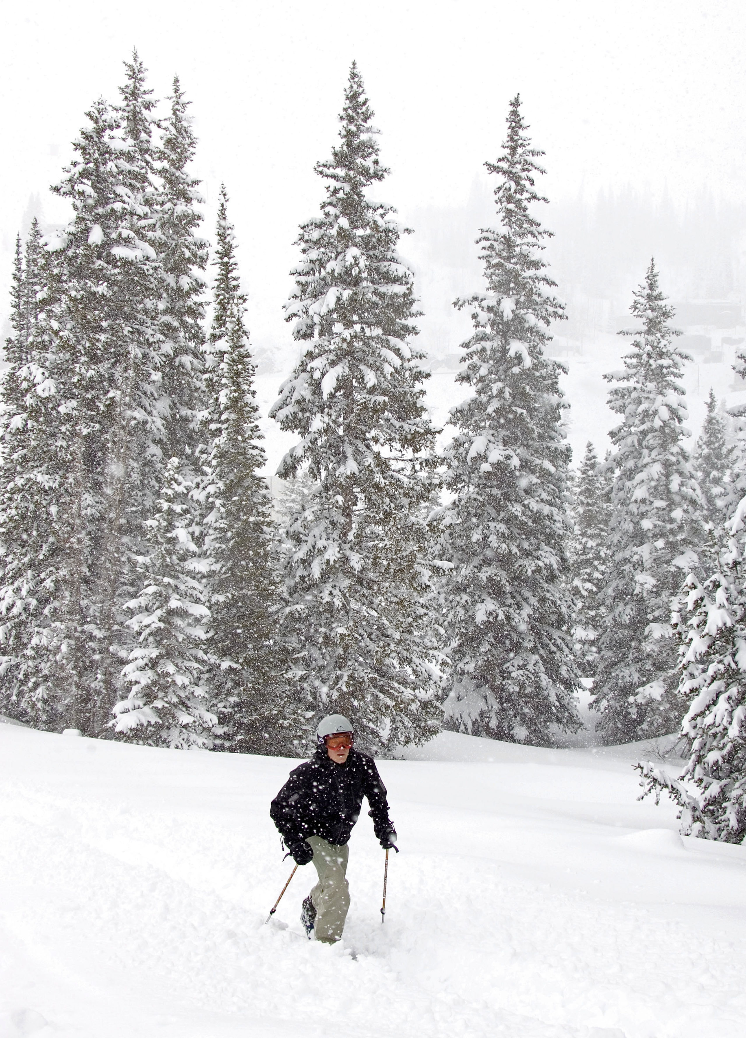 ALTA, UTAH - MAY 11: Matt Johnson from New Hampshire enjoys mid-winter like ski conditions as he makes his way through almost two feet of new snow that blanketed May 11, 2005 in Alta, Utah. There is already 178 inches of snow at mid-mountain at Alta and Utah officials are worried that severe flooding will occur when warmer weather hits. Normally the snow starts to melt the first part of April with the majority of it gone by this time of year. (Photo by George Frey/Getty Images)