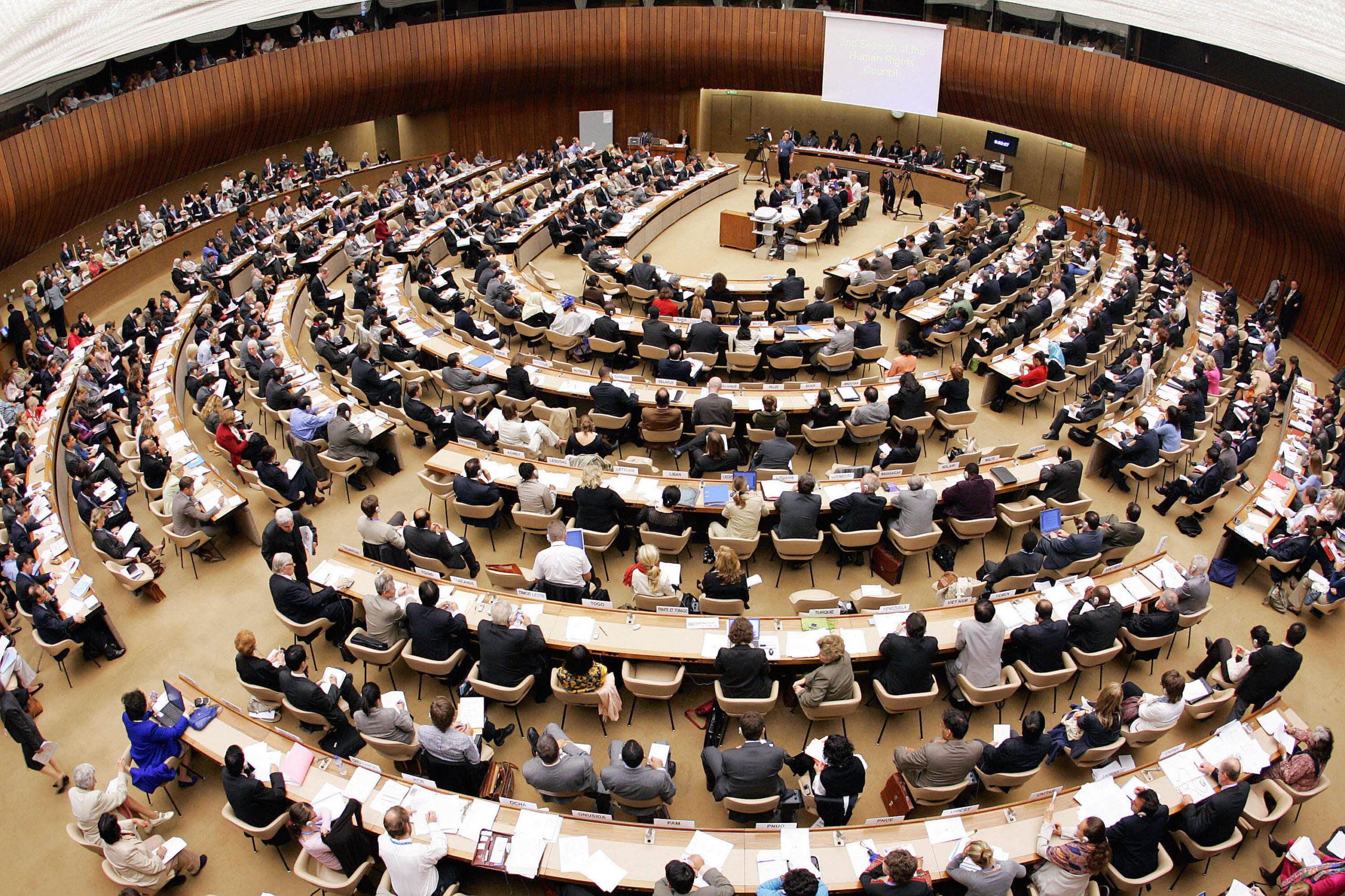 The Human Rights Council is seen holding a meeting in the United Nations office in Geneva, Switzerland. (Fabrice Coffrini/AFP via Getty Images)