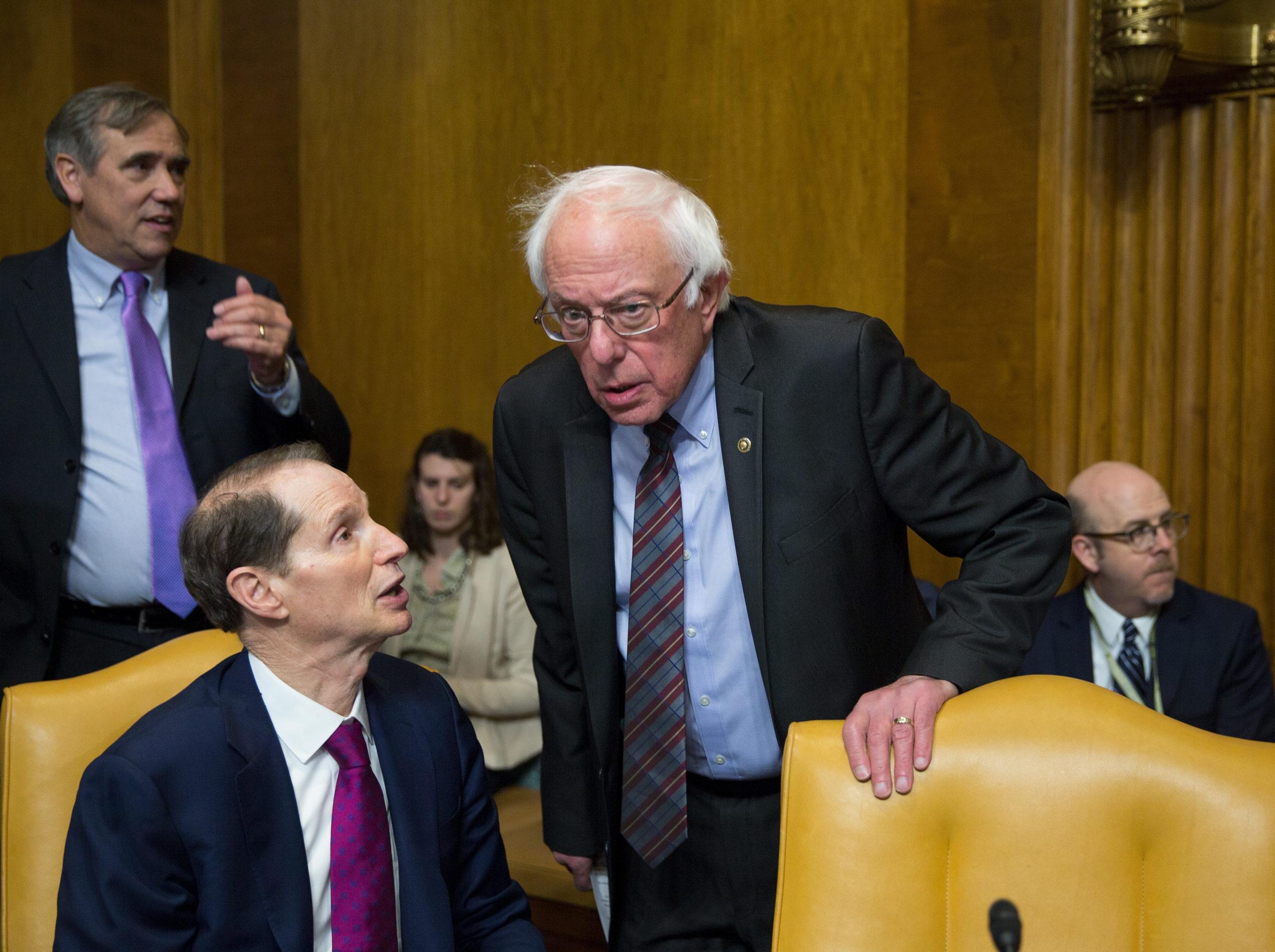 Sen. Ron Wyden and Sen. Bernie Sanders speak before a committee hearing in 2017. (Tasos Katopodis/Getty Images)