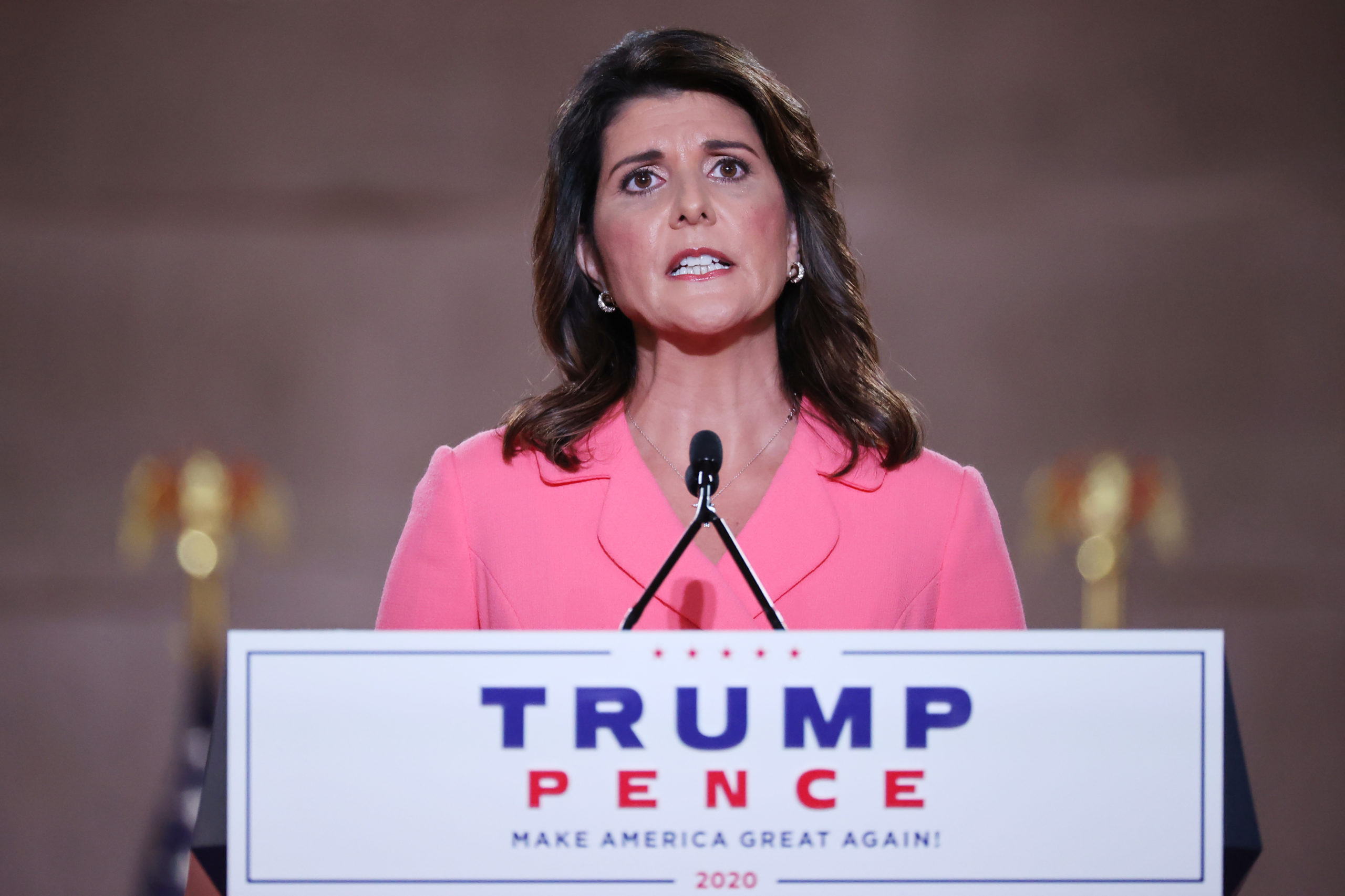 Former U.S. Ambassador to the United Nations Nikki Haley stands on stage in an empty Mellon Auditorium while addressing the Republican National Convention at the Mellon Auditorium on August 24, 2020 in Washington, DC. (Photo by Chip Somodevilla/Getty Images)