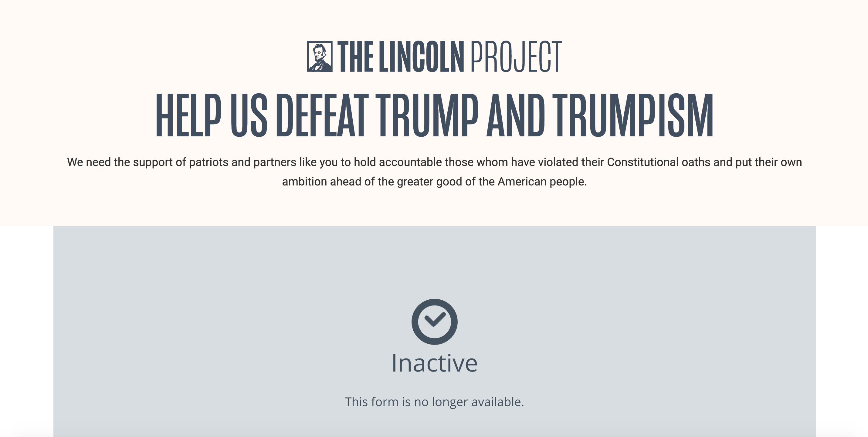 Screenshot, the Lincoln Project.