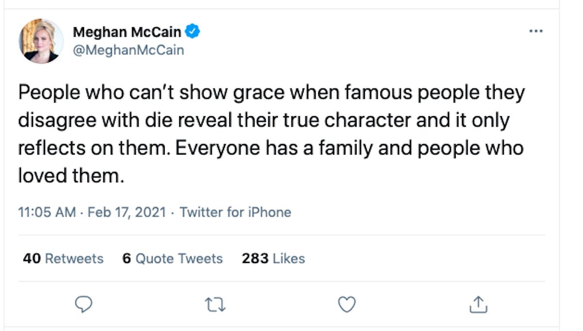 Screen Shot: Meghan McCain on Twitter