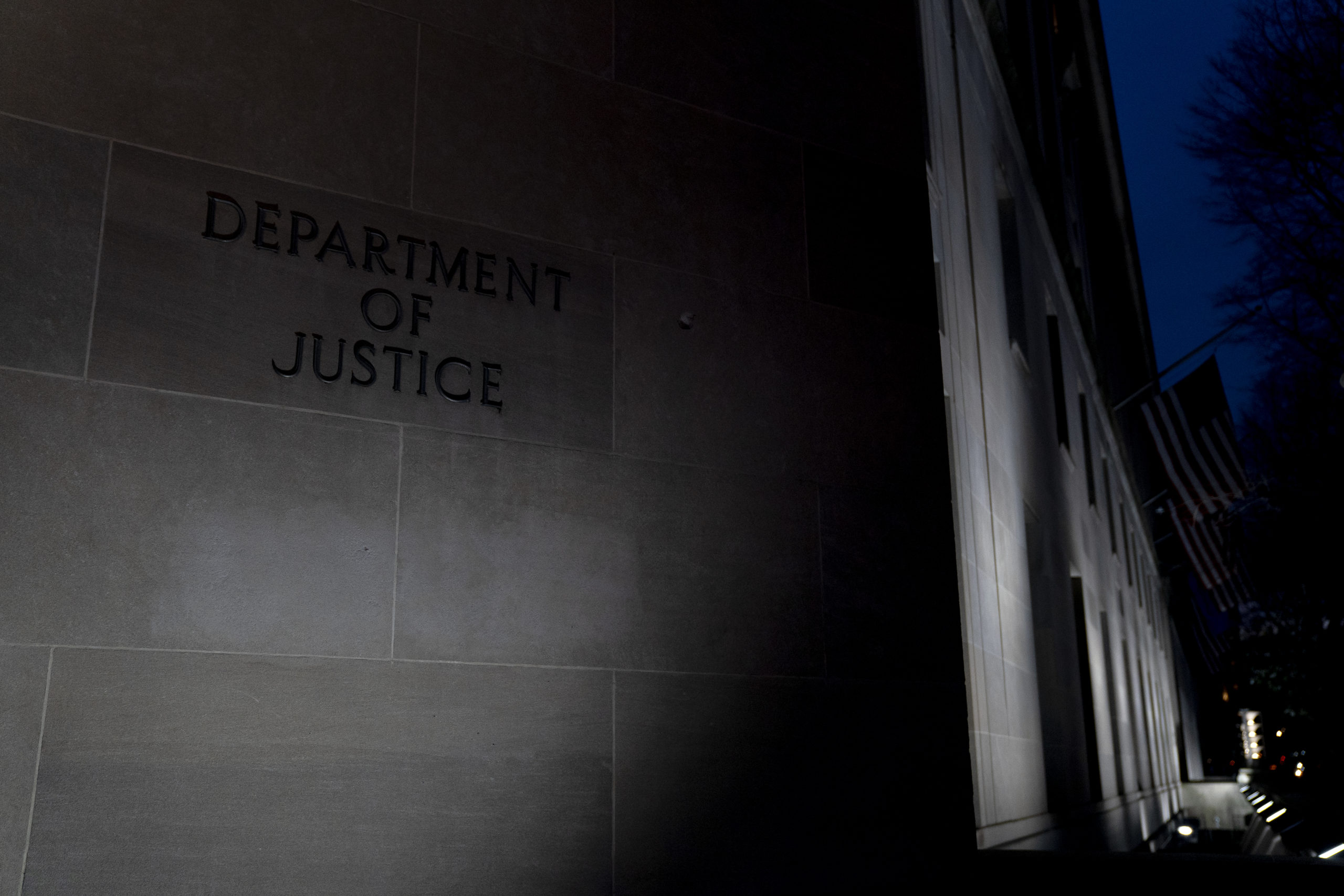 WASHINGTON, DC - JANUARY 11: The Department of Justice (DOJ) building on January 11, 2021 in Washington, DC. The Department of Justice has charged several participants involved in breaching the U.S. Capitol, interrupting the counting of electoral college votes, on Wednesday. (Photo by Stefani Reynolds/Getty Images)