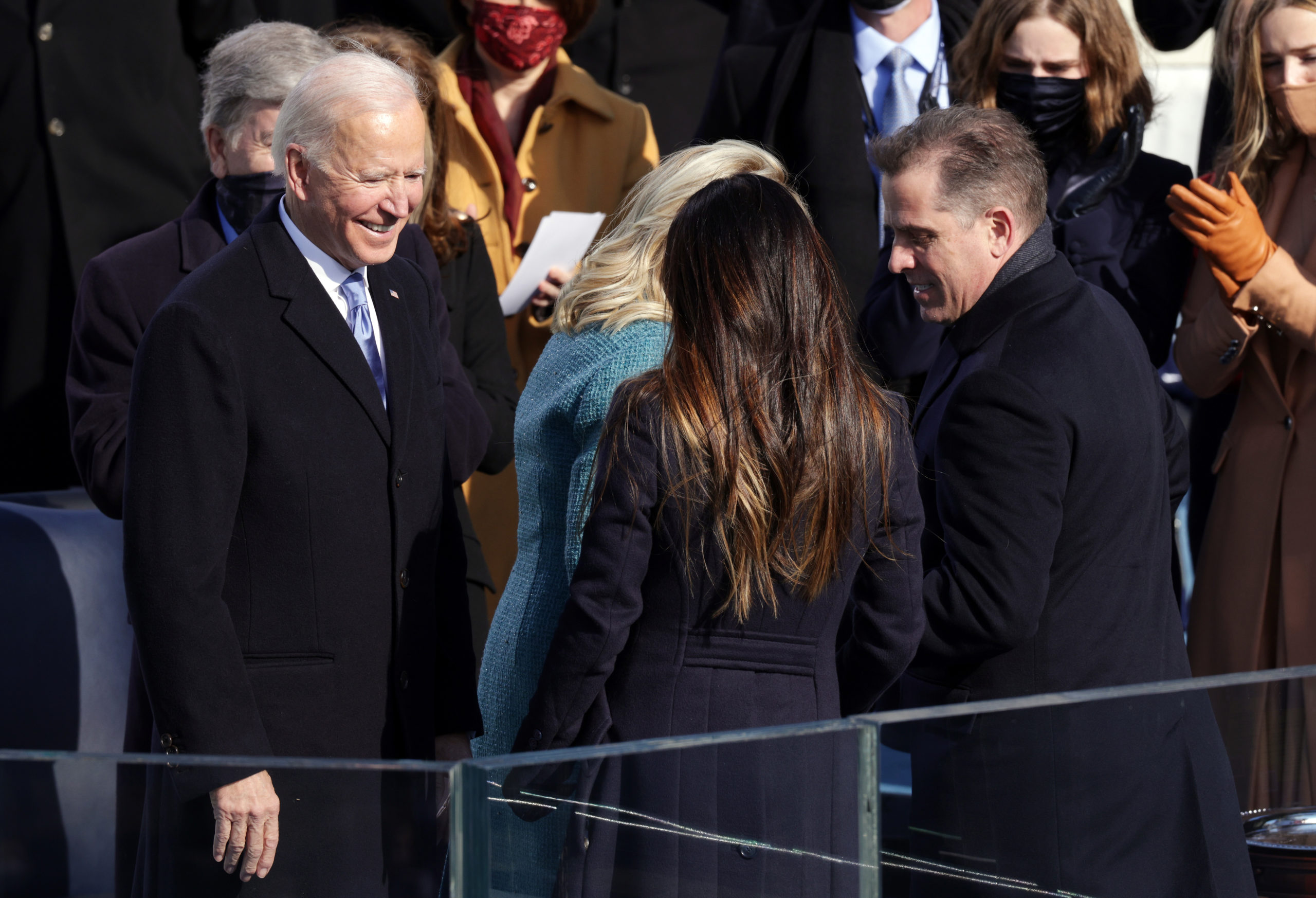 U.S. President Joe Biden greets his wife Dr. Jill Biden, son Hunter Biden and daughter Ashley Biden after being sworn in as U.S. president during his inauguration on the West Front of the U.S. Capitol on January 20, 2021, in Washington, DC. (Alex Wong/Getty Images)
