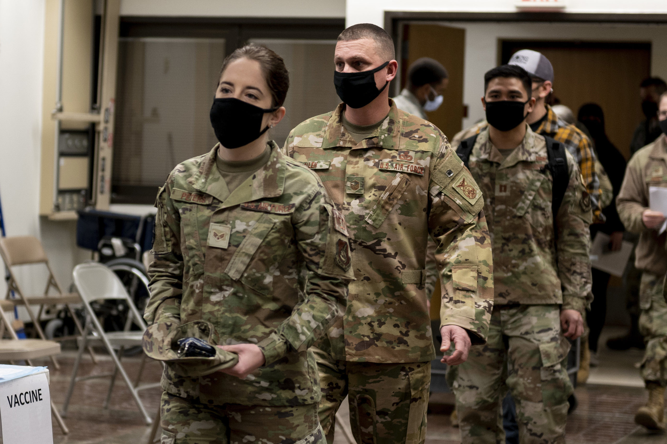 In this handout image provided by United States Forces Korea, Members of U.S. Air Force prepare to receive the first round of the Moderna COVID-19 vaccine at Osan Air Base on December 29, 2020 in Pyeongtaek, South Korea. (Photo by United States Forces Korea via Getty Images)