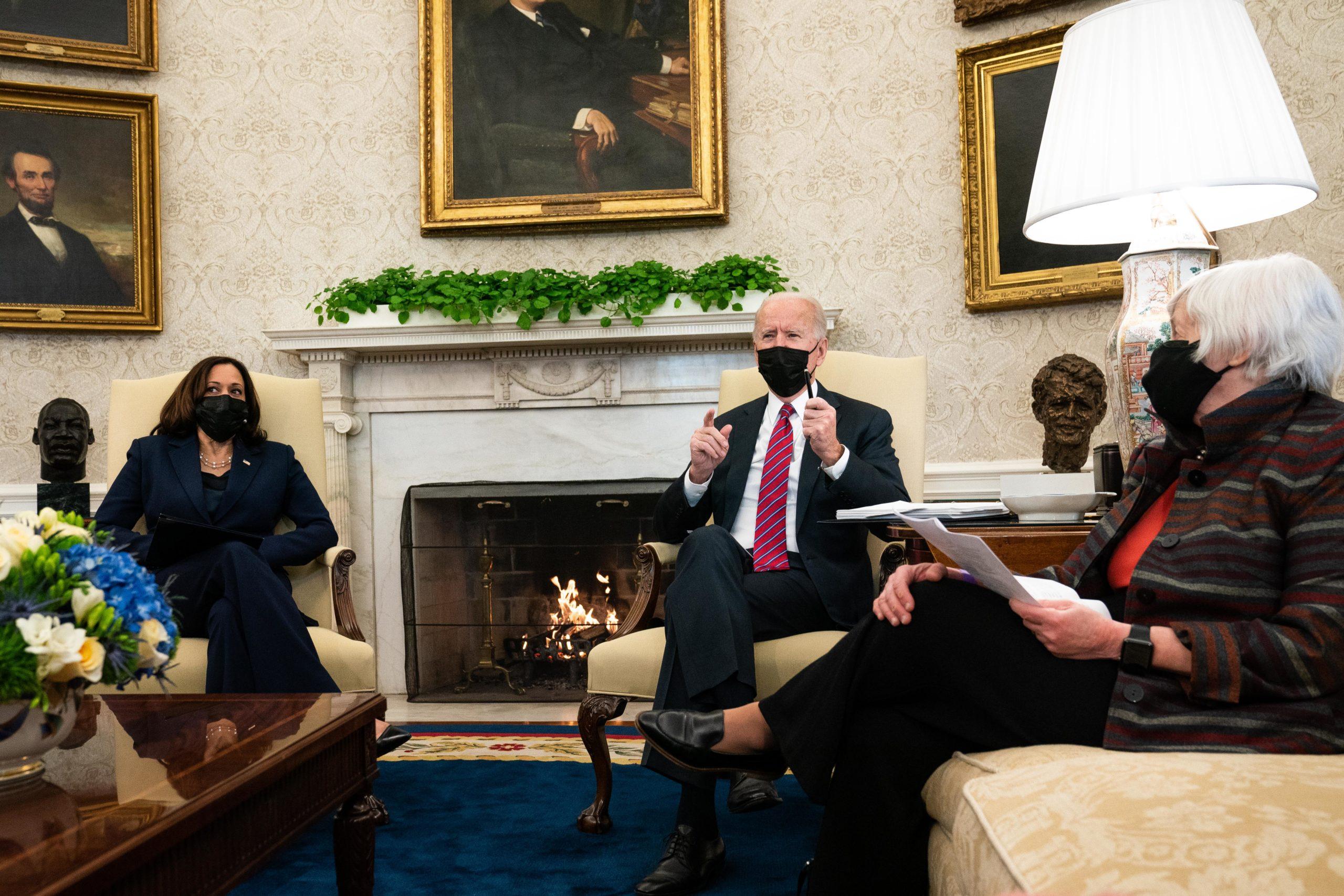 Vice President Kamala Harris and U.S. President Joe Biden meet with Treasury Secretary Janet Yellen in the Oval Office of the White House on January 29, 2021. (Anna Moneymaker-Pool/Getty Images)