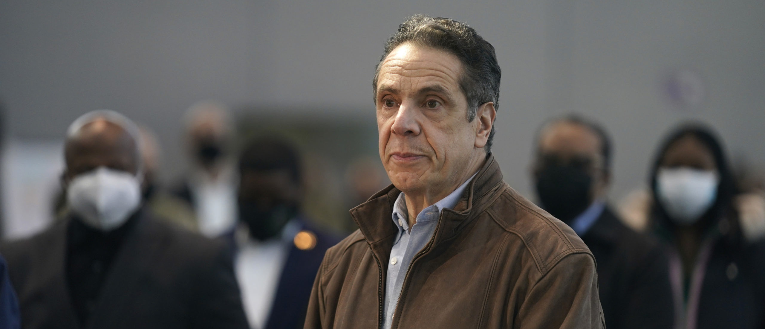 New York Gov. Andrew Cuomo speaks at a vaccination site at the Jacob K. Javits Convention Center on March 8, 2021, in New York City. (Seth Wenig-Pool/Getty Images)