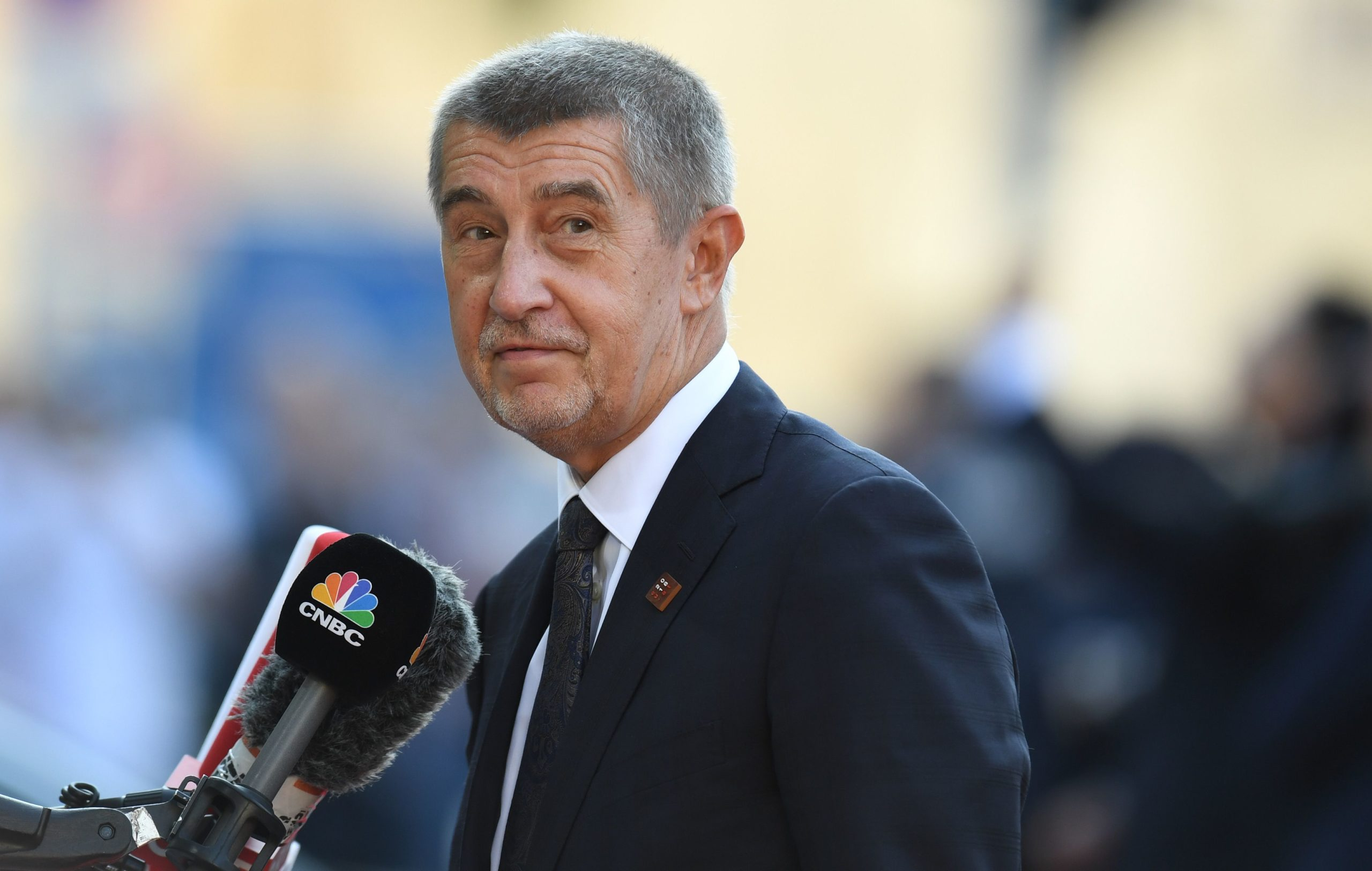 Czech Republic's Prime Minister Andrej Babis gives a statement as he arrives at the Mozarteum University to attend a plenary session part of the EU Informal Summit of Heads of State or Government in Salzburg, Austria, on September 20, 2018. (CHRISTOF STACHE/AFP via Getty Images)