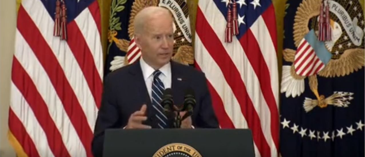 President Joe Biden answers a question about withdrawing troops from Afghanistan at his press conference on March 25, 2021. (Screenshot/White House)