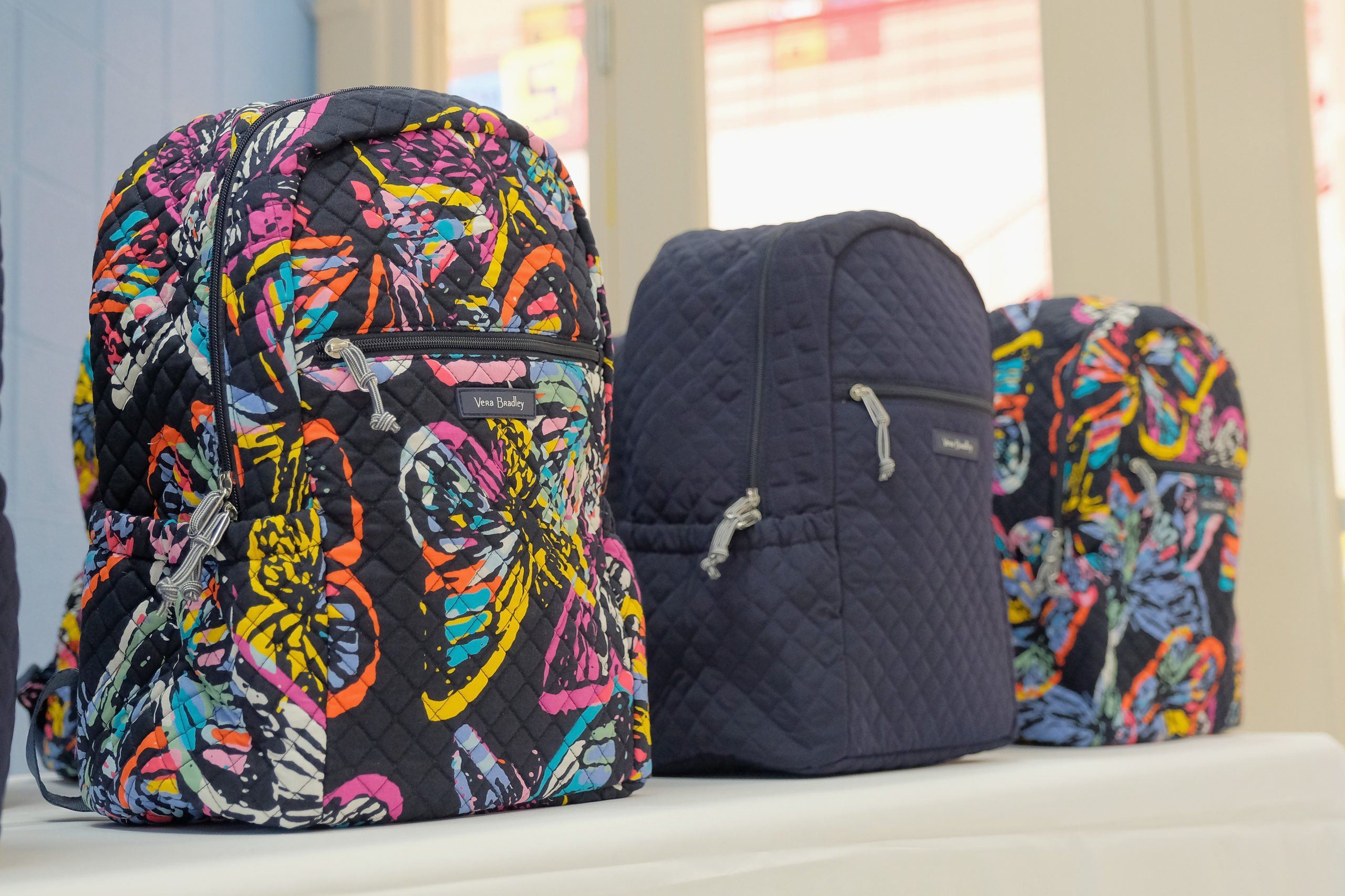 NASHVILLE, TN - AUGUST 27: Backpacks seen during Vera Bradley x Blessings In A Backpack giveaway and carnival philanthropy tour on August 27, 2018 in Nashville, Tennessee. (Photo by Jason Kempin/Getty Images for Vera Bradley)