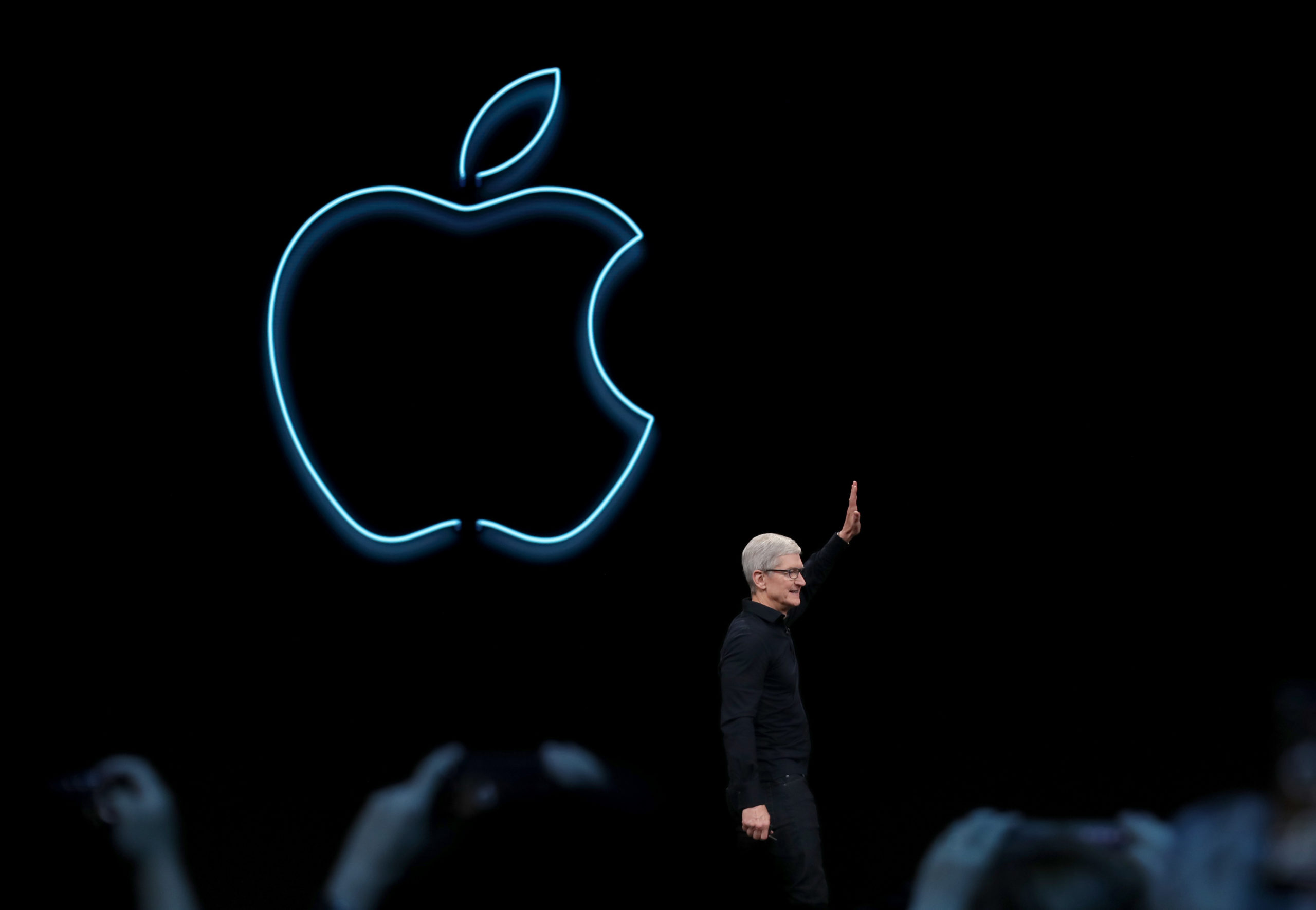 Apple CEO Tim Cook delivers the keynote address during the 2019 Apple Worldwide Developer Conference at the San Jose Convention Center on June 3, 2019 in San Jose, California. (Justin Sullivan/Getty Images)