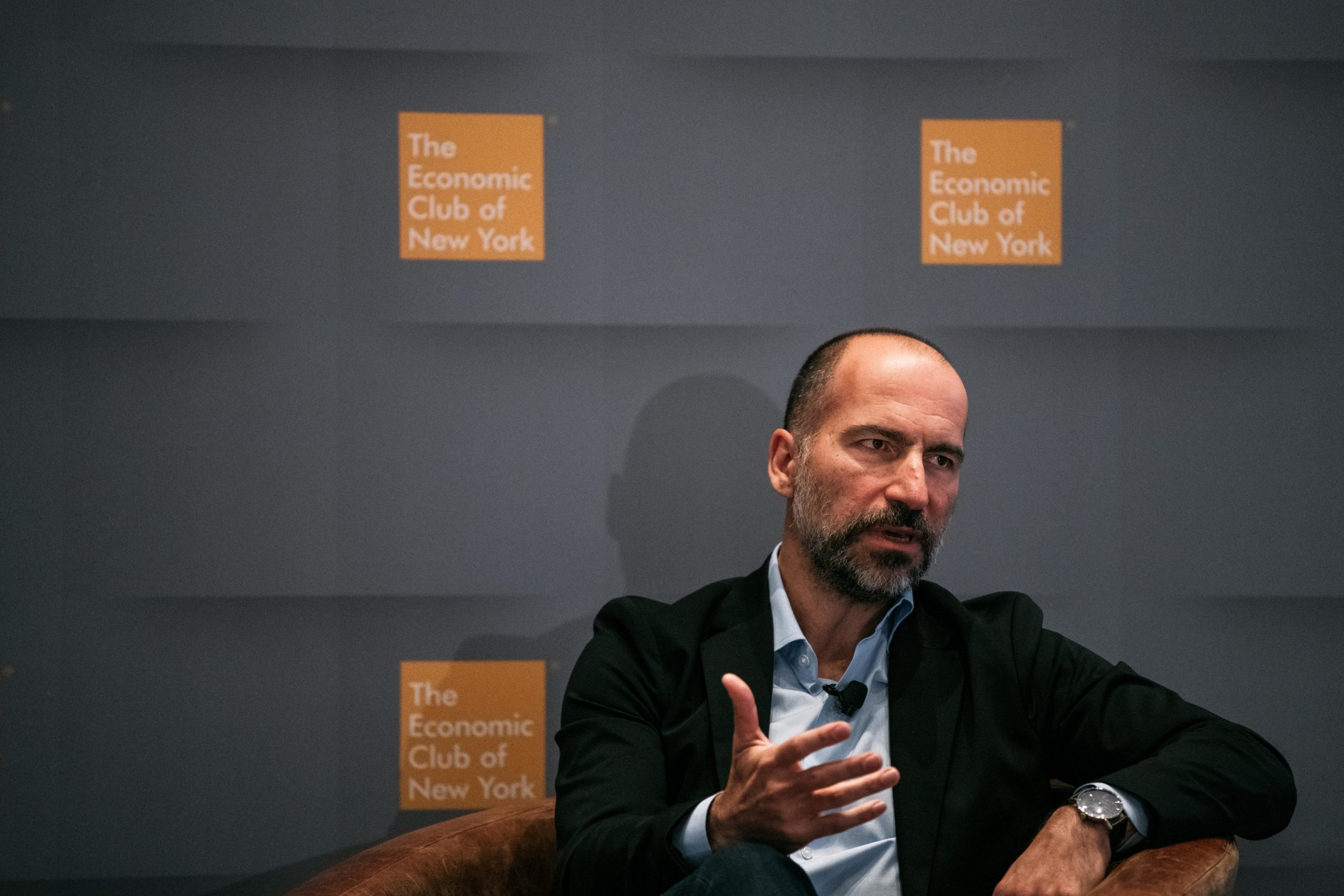 Uber CEO Dara Khosrowshahi speaks at a meeting of the Economic Club of New York in 2019. (Scott Heins/Getty Images)