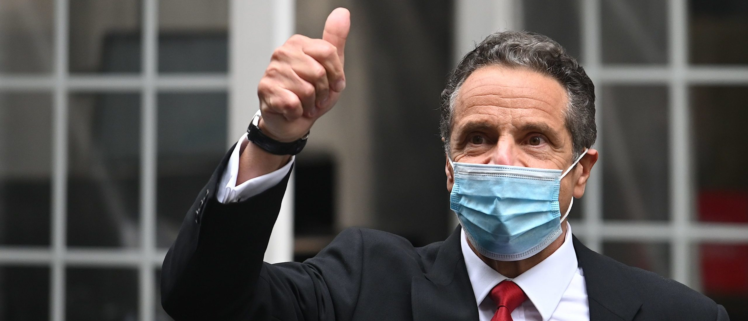 New York Andrew Cuomo Gov. leaves the New York Stock Exchange on May 26. (Johannes Eisele/AFP via Getty Images)