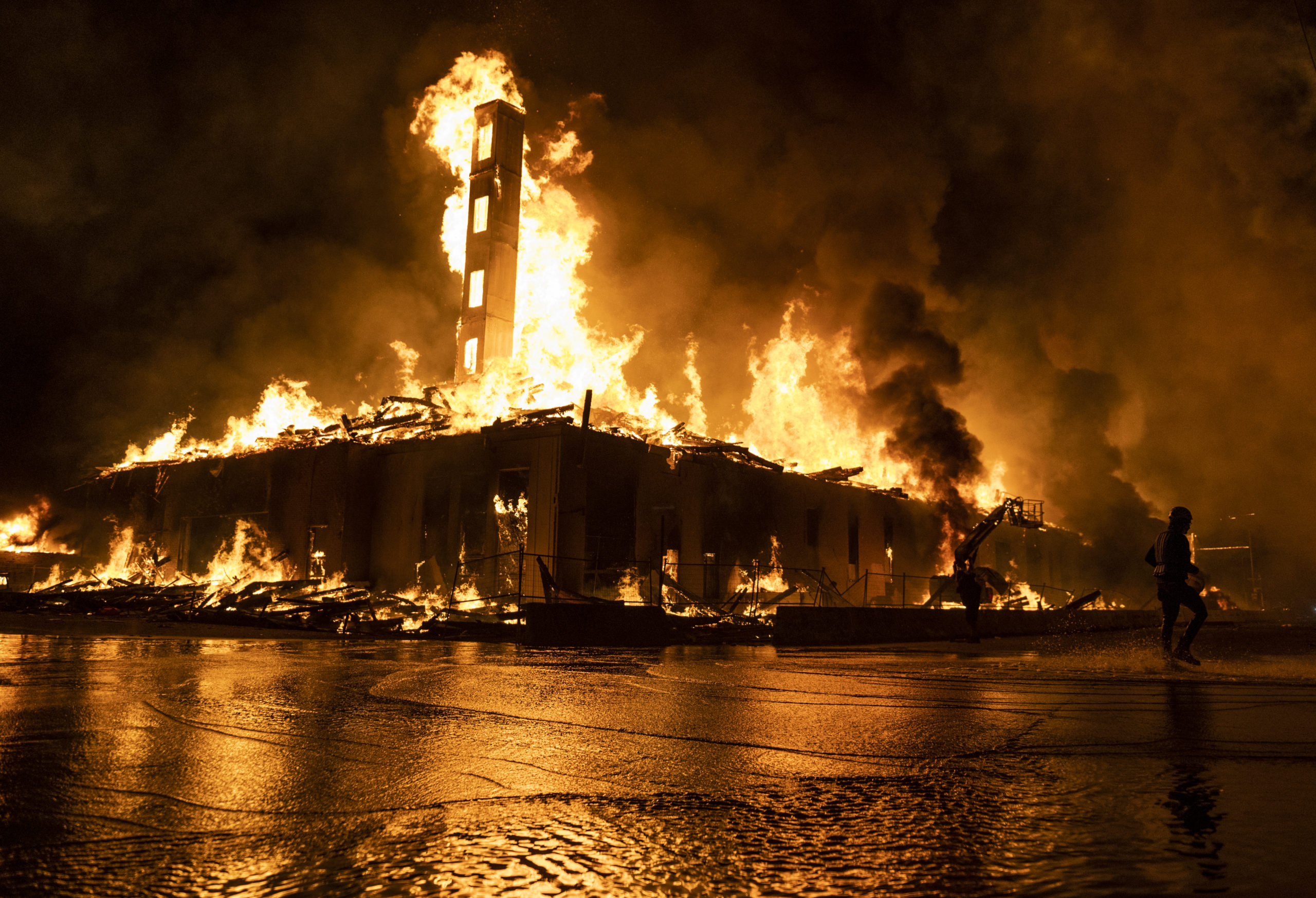 A construction site burns in a large fire near the Third Police Precinct on May 27, 2020 in Minneapolis, Minnesota. (Stephen Maturen/Getty Images)