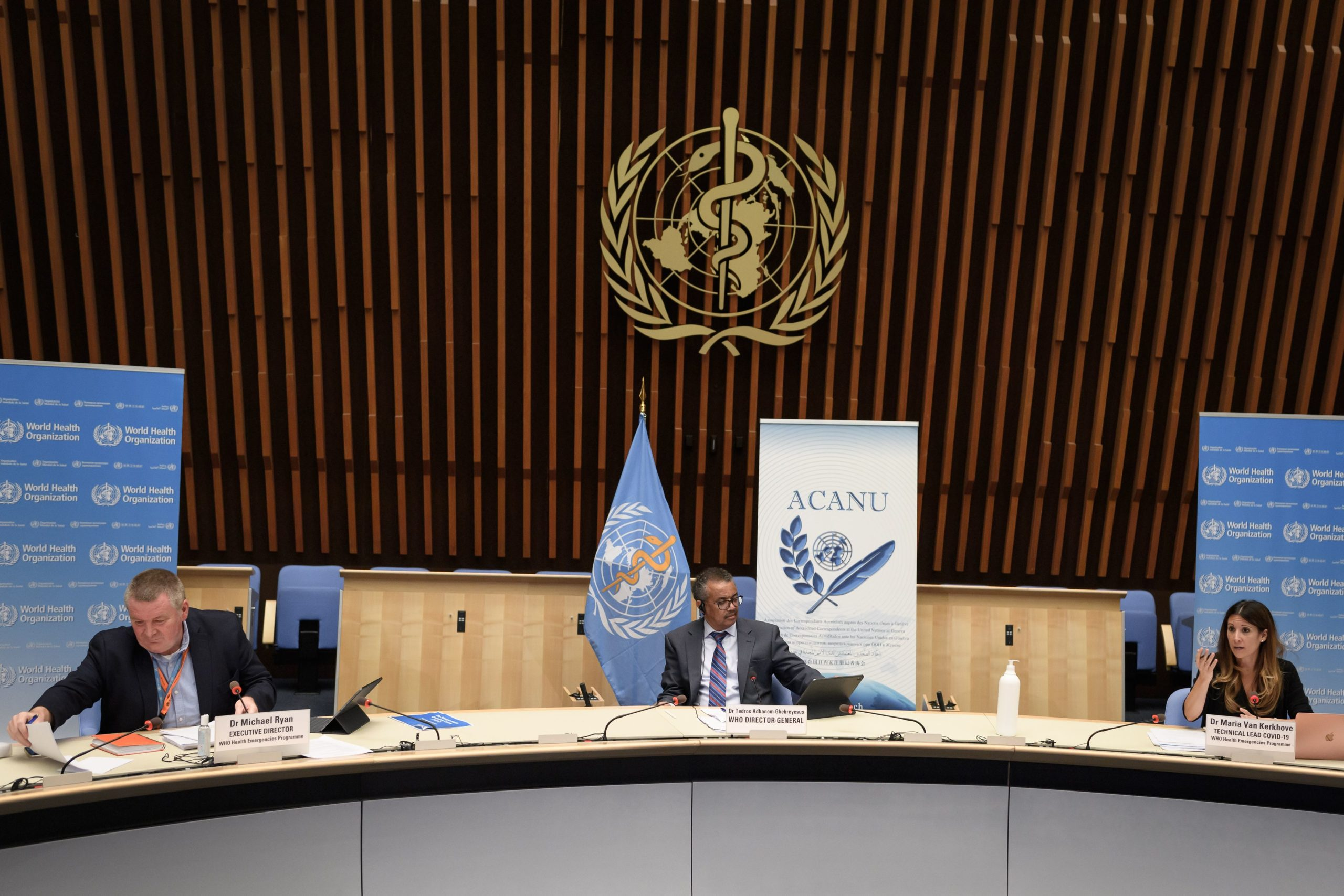 World Health Organization officials attend a press conference in July. (Fabrice Coffrini/Pool/AFP via Getty Images)