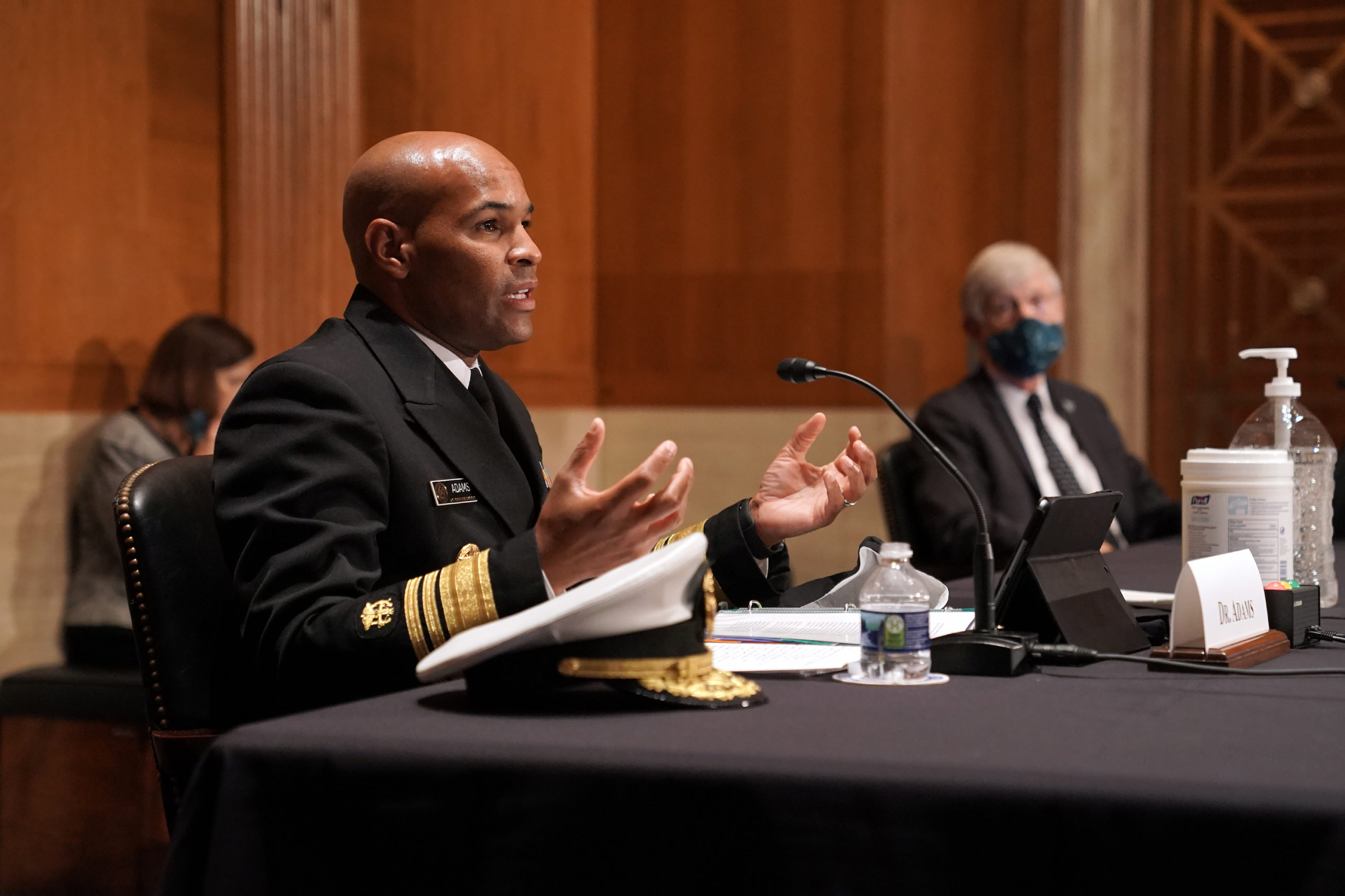 Surgeon General Jerome Adams testifies during a hearing on Sept. 9 in Washington, D.C. to discuss vaccines and the coronavirus pandemic. (Greg Nash/Pool/AFP via Getty Images)