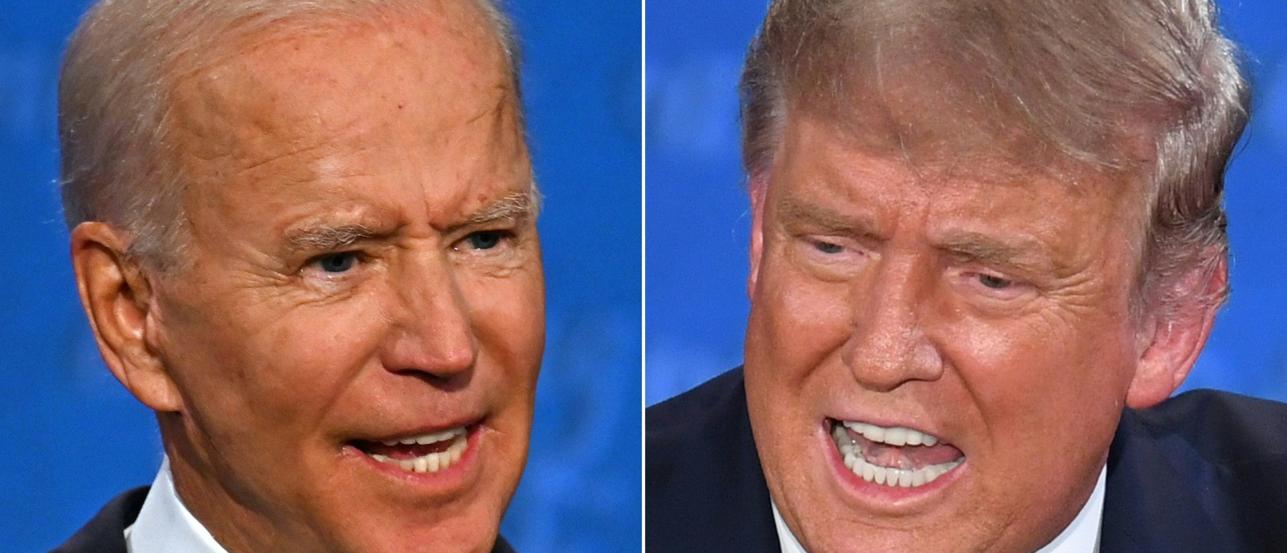 This combination of pictures created on September 29, 2020 shows Democratic Presidential candidate and former US Vice President Joe Biden (L) and US President Donald Trump speaking during the first presidential debate at the Case Western Reserve University and Cleveland Clinic in Cleveland, Ohio on September 29, 2020. (Photo by JIM WATSON,SAUL LOEB/AFP via Getty Images)