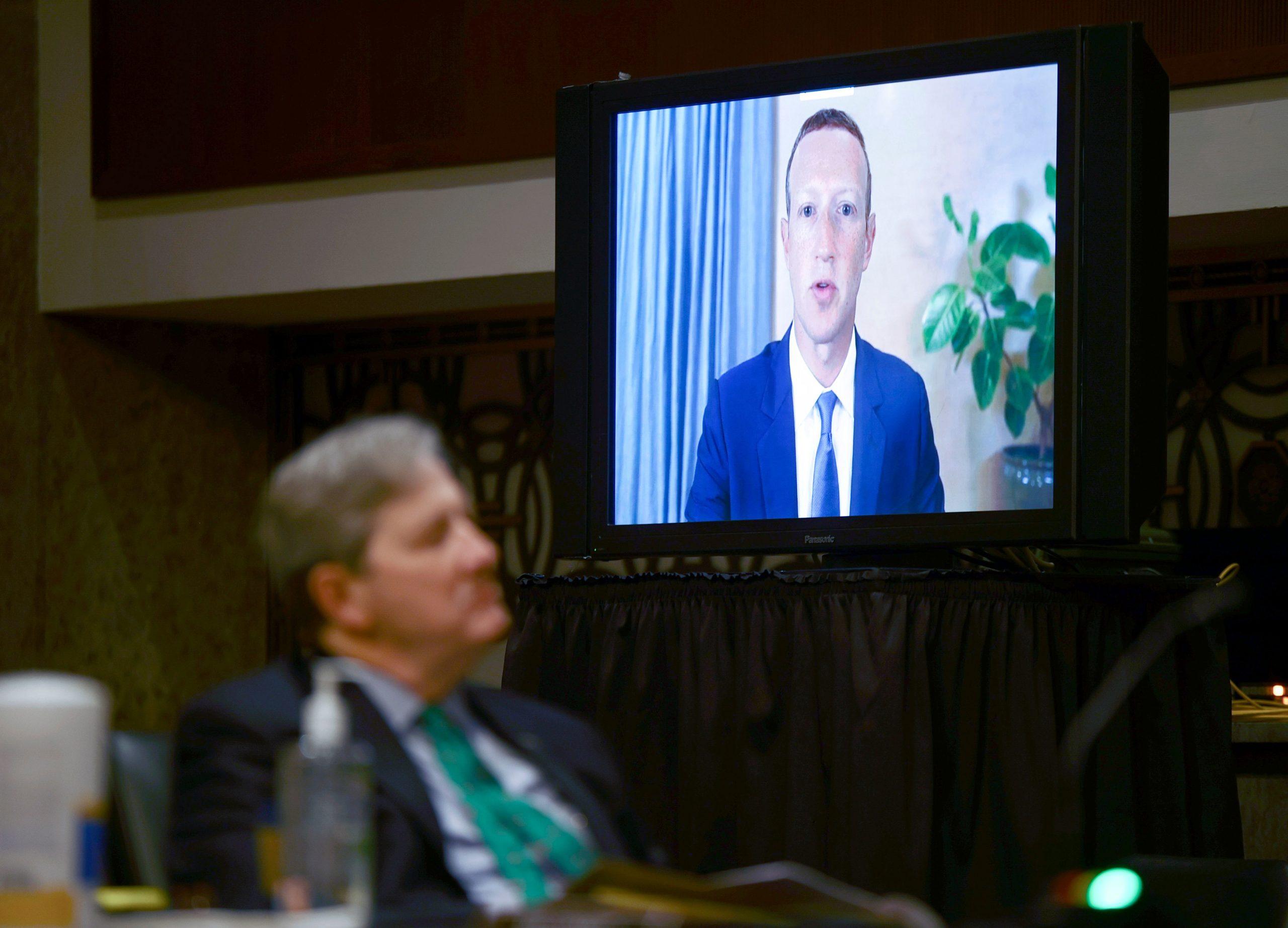 Facebook CEO Mark Zuckerberg testifies remotely during a Senate hearing. (Hannah McKay/Pool/AFP via Getty Images)