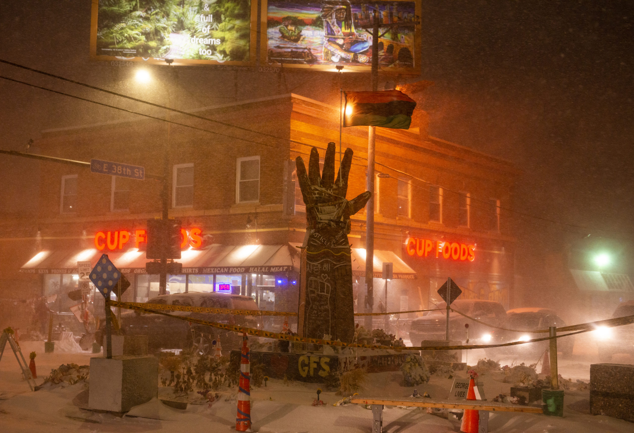 Heavy snow flies during a snowstorm at George Floyd Square, the memorial site for George Floyd, on December 23, 2020 in Minneapolis, Minnesota. (Stephen Maturen/Getty Images)