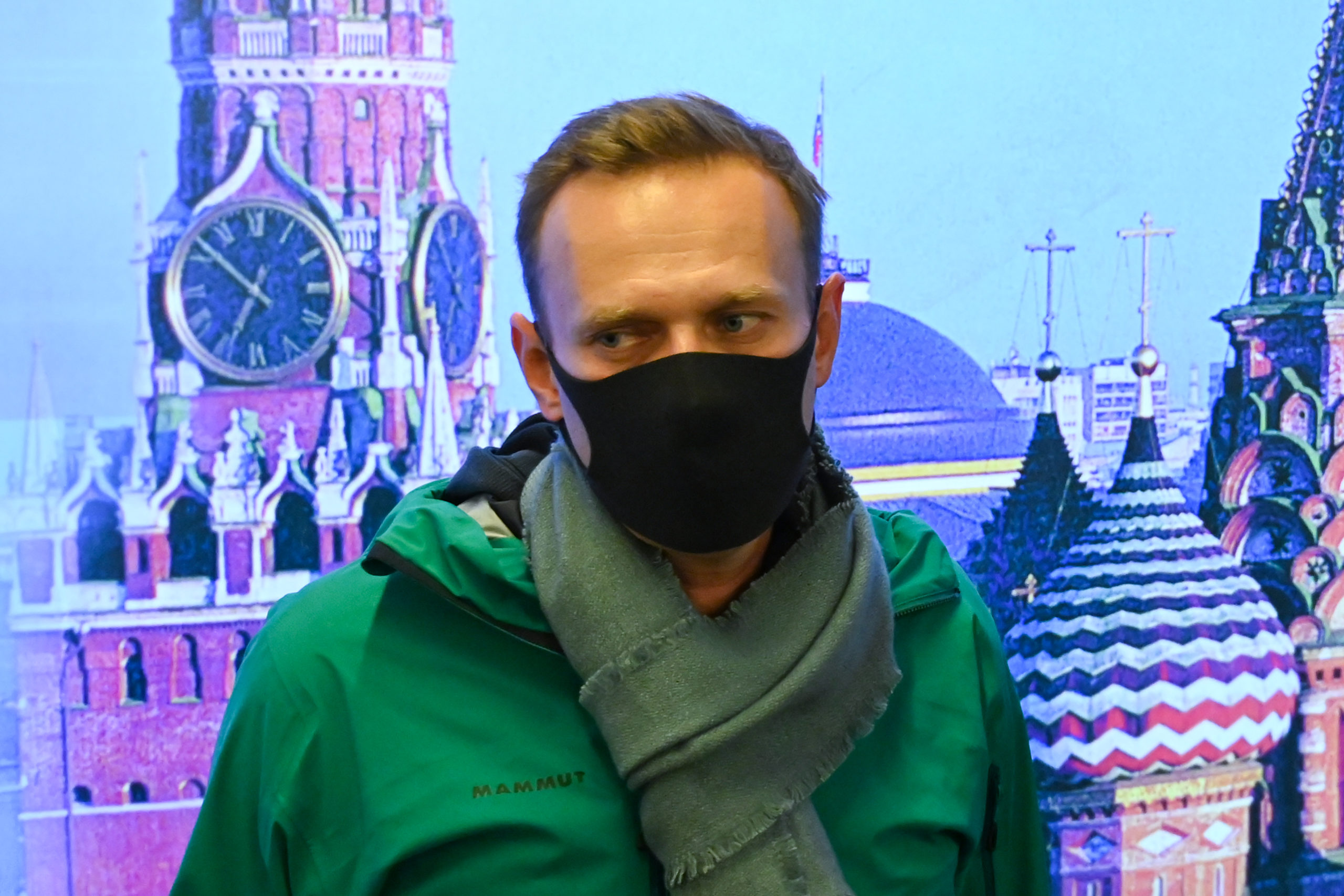 Russian opposition leader Alexei Navalny is seen at Moscow's Sheremetyevo airport upon the arrival from Berlin on January 17, 2021. - Russian police detained Kremlin critic Alexei Navalny at a Moscow airport shortly after he landed on a flight from Berlin, an AFP journalist at the scene said. (Photo by KIRILL KUDRYAVTSEV/AFP via Getty Images)