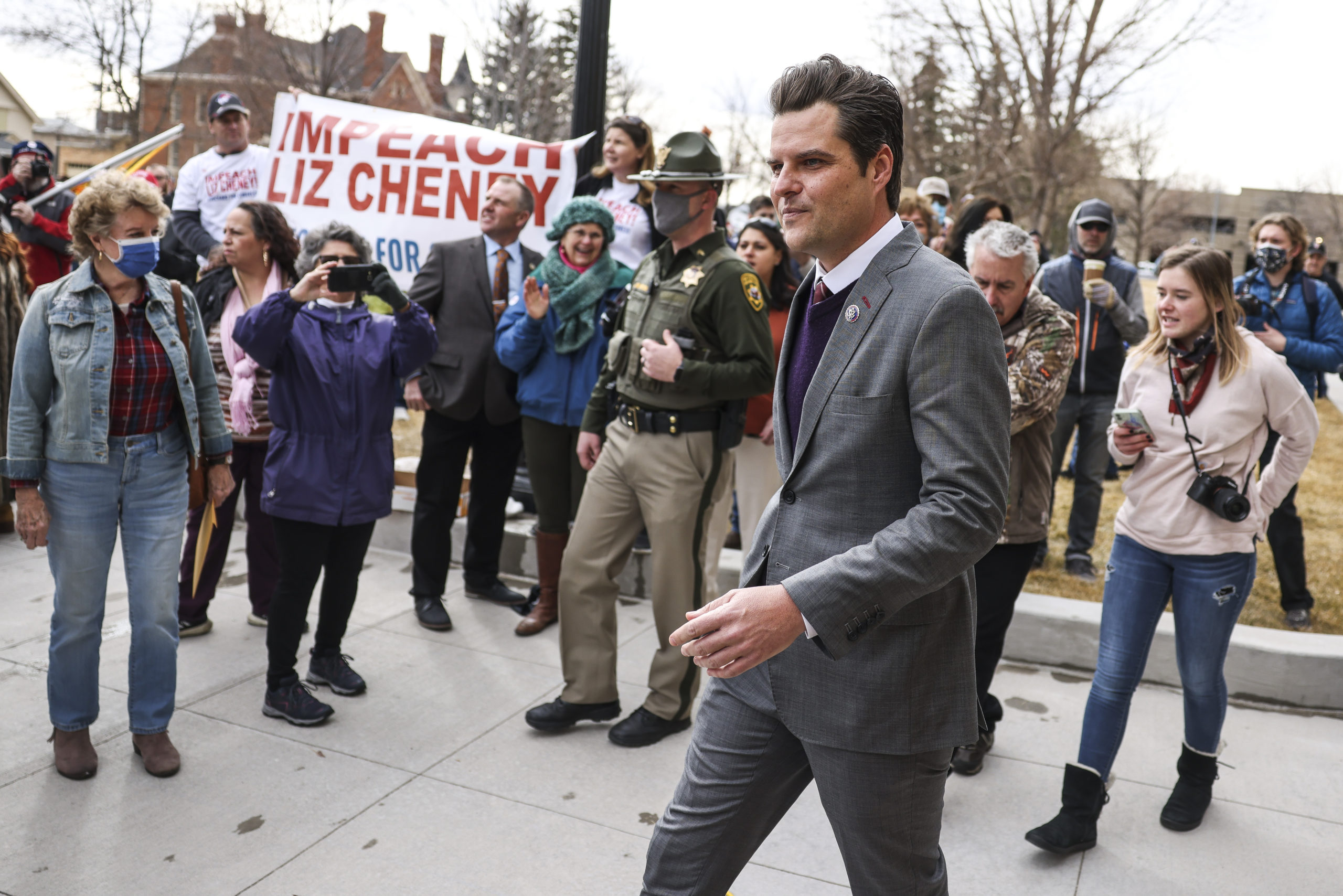 Rep. Matt Gaetz (R-FL) walks up to speak to a crowd during a rally against Rep. Liz Cheney (R-WY) on January 28, 2021 in Cheyenne, Wyoming. (Michael Ciaglo/Getty Images)