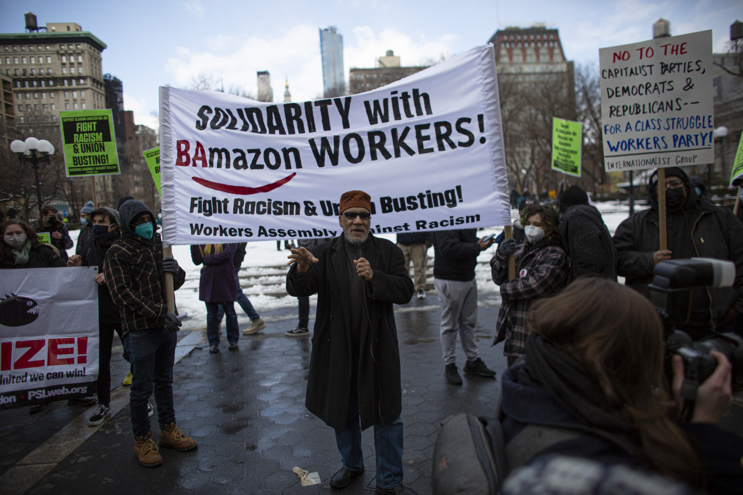 People gather during a protest in support of Amazon workers in Union Square, New York on Feb. 20. (Kena Betancur/AFP via Getty Images)