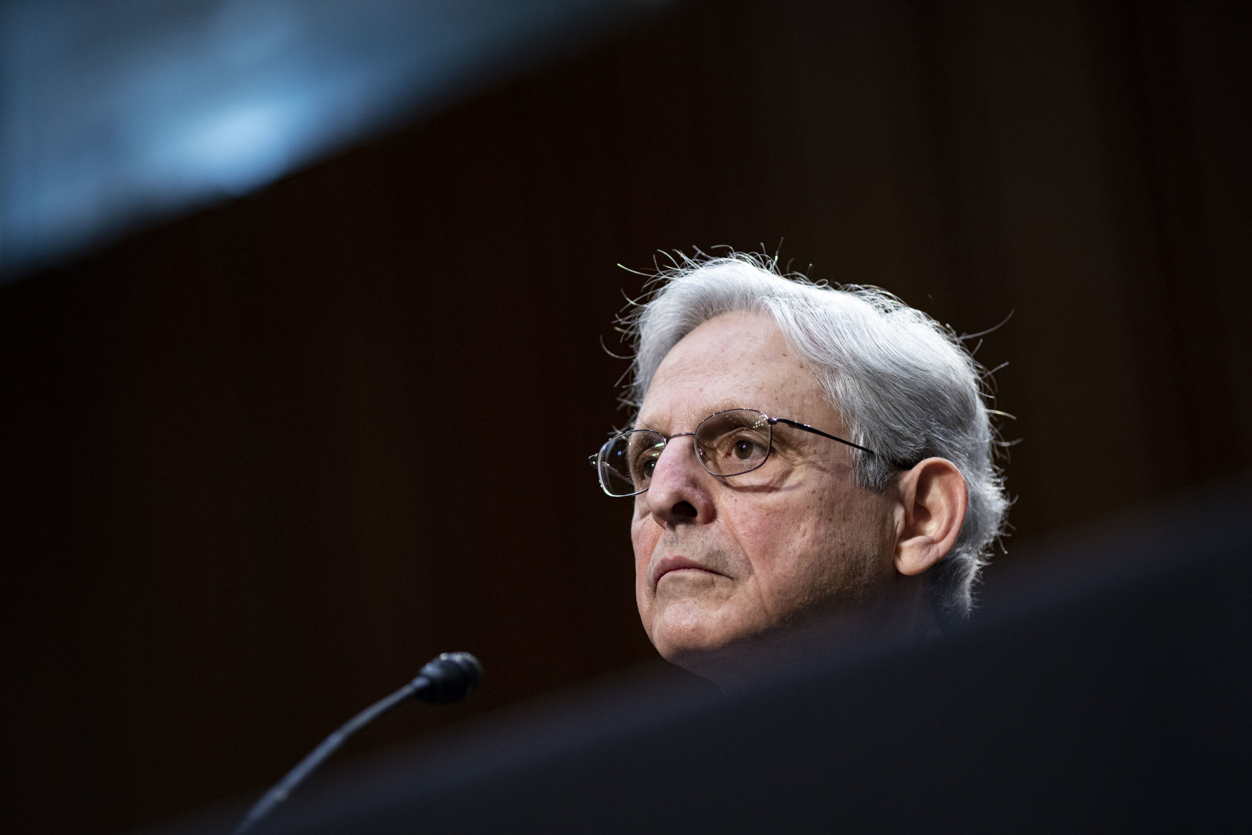 Attorney General nominee Merrick Garland listens during his confirmation hearing before the Senate Judiciary Committee in the Hart Senate Office Building on February 22, 2021 in Washington, DC. (Al Drago/Getty Images)