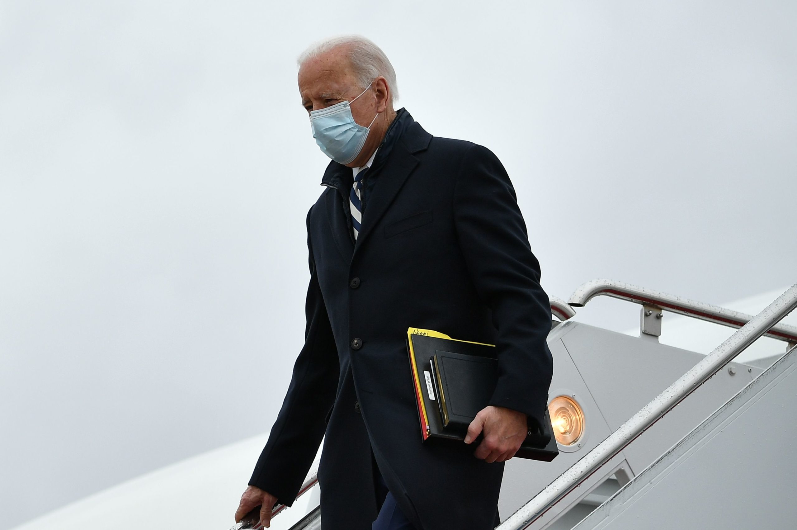 US President Joe Biden steps off Air Force One upon arrival at Andrews Air Force Base in Maryland on March 1, 2021. - Biden is returning to Washington after spending the weekend at his Wilmington home. (Photo by MANDEL NGAN/AFP via Getty Images)