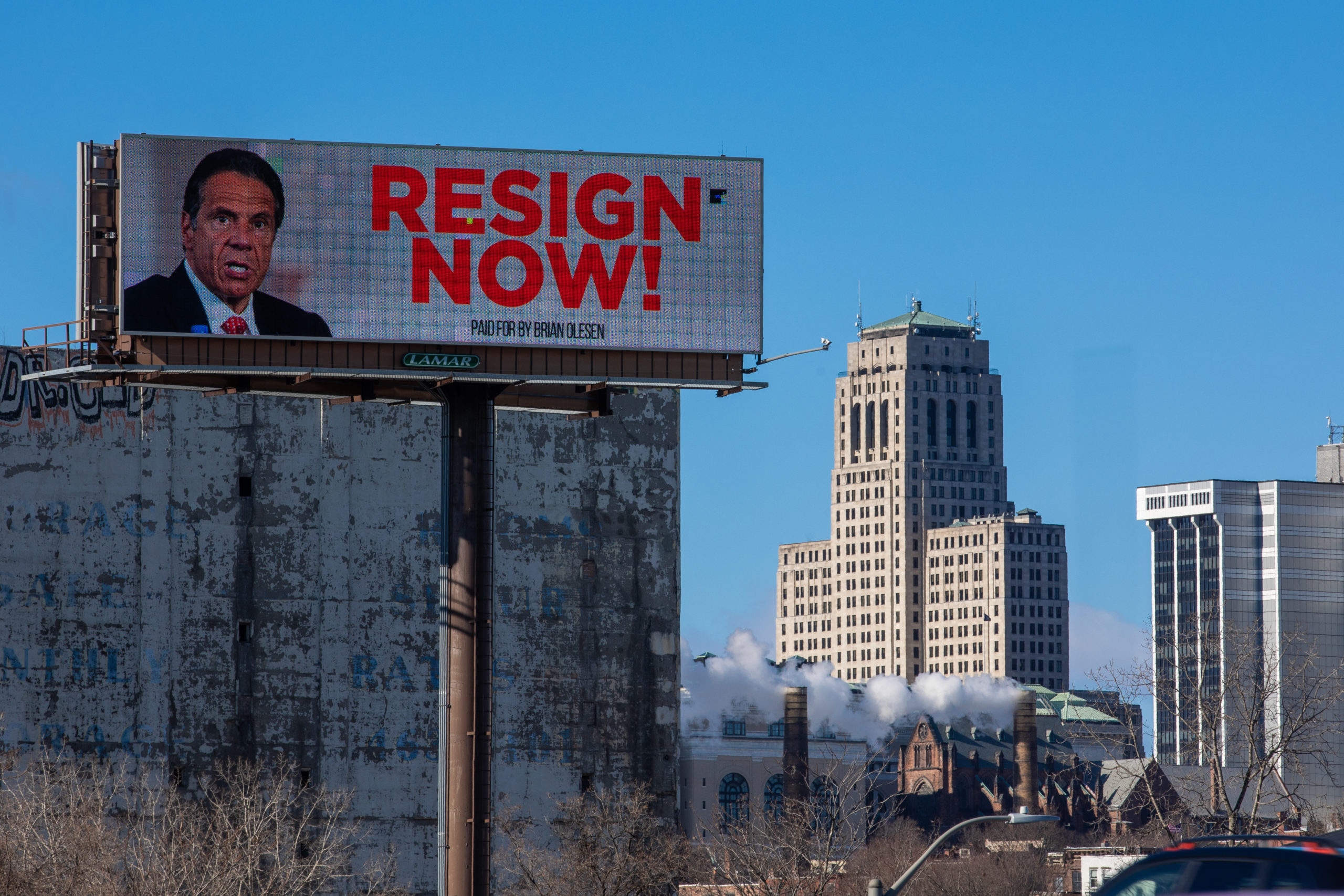 A billboard urging New York Governor Andrew Cuomo to resign is seen near downtown on March 2, 2021 in Albany, New York. (Matthew Cavanaugh/Getty Images)